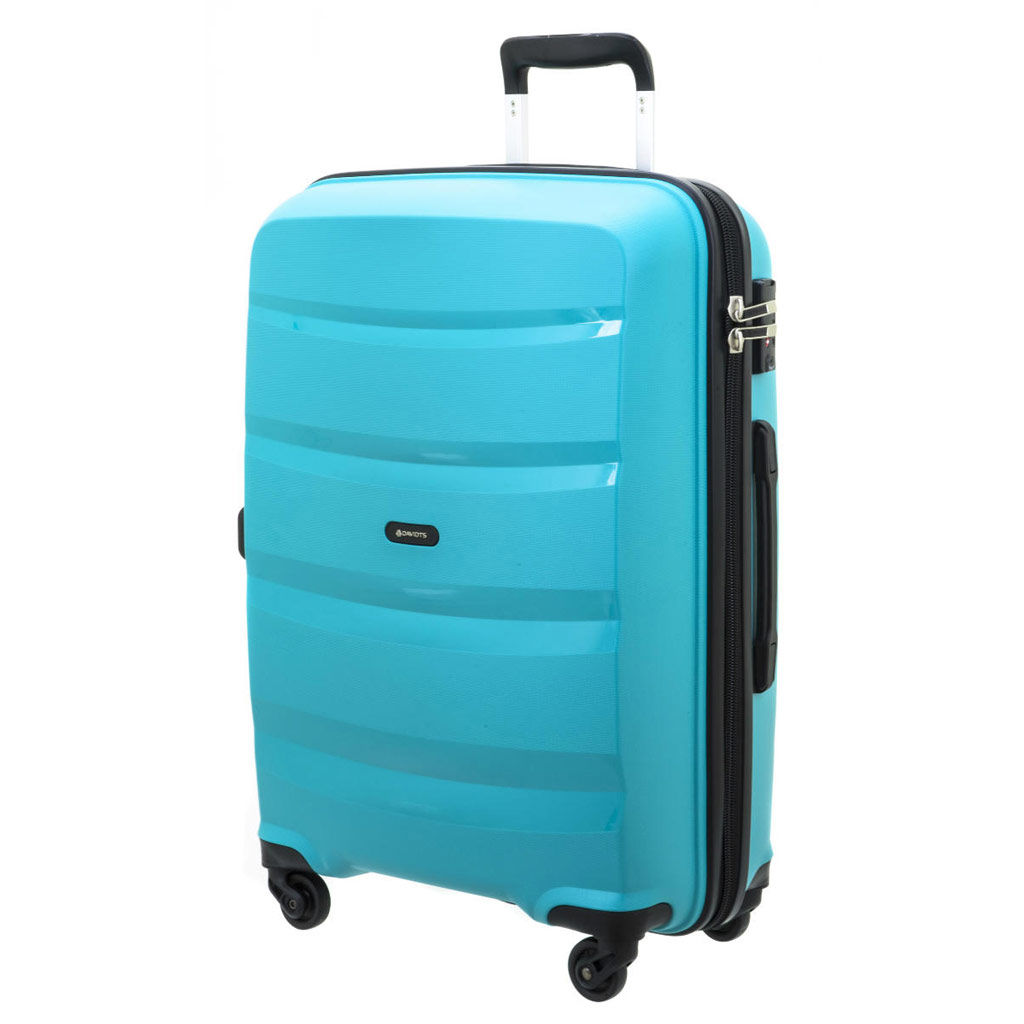 Valise trolley coque polypropylène \'Davidt\'s\' turquoise - 66x45x26 cm - [P9176]