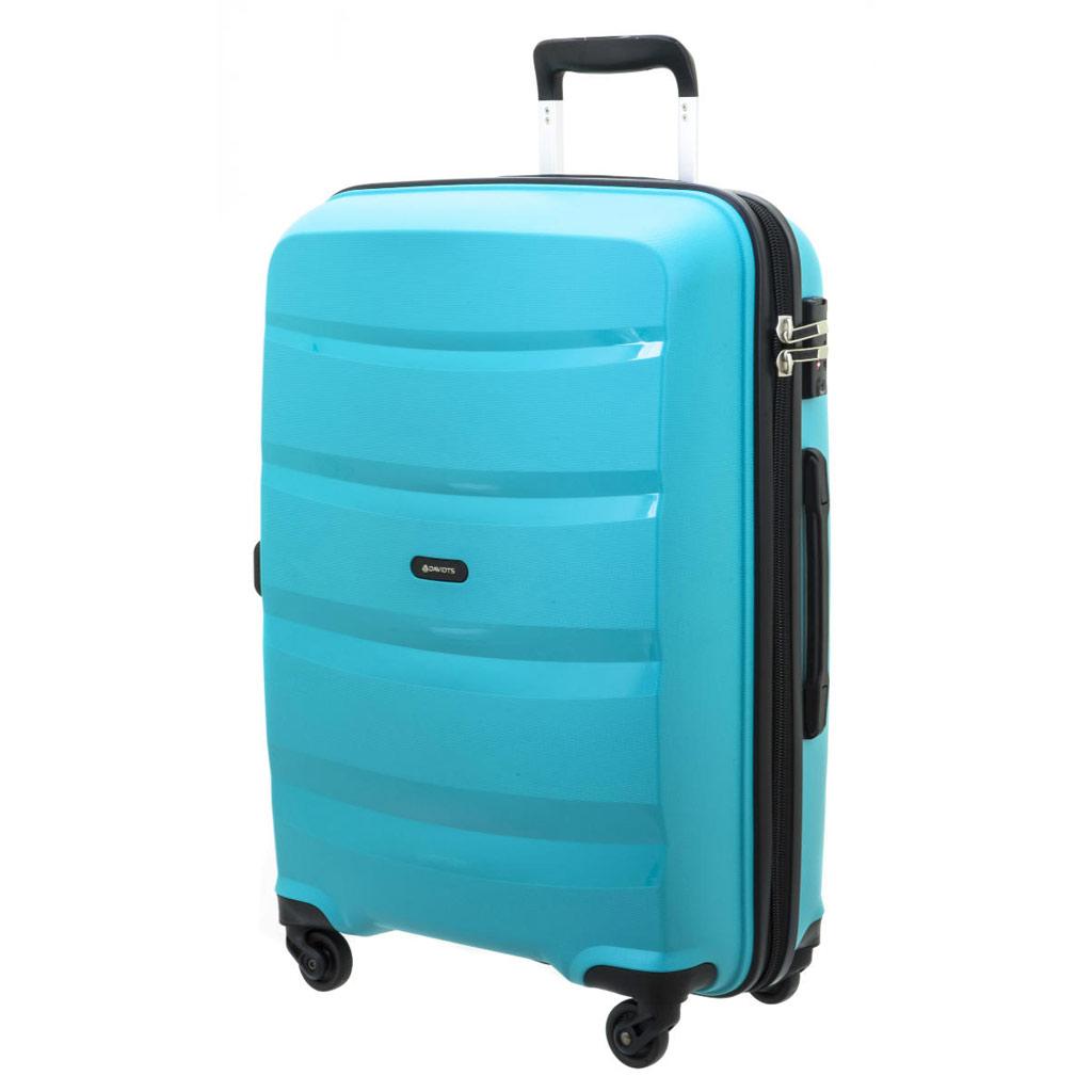 Valise trolley coque polypropylène \'Davidt\'s\' turquoise - 66x45x26 cm - [P9176]