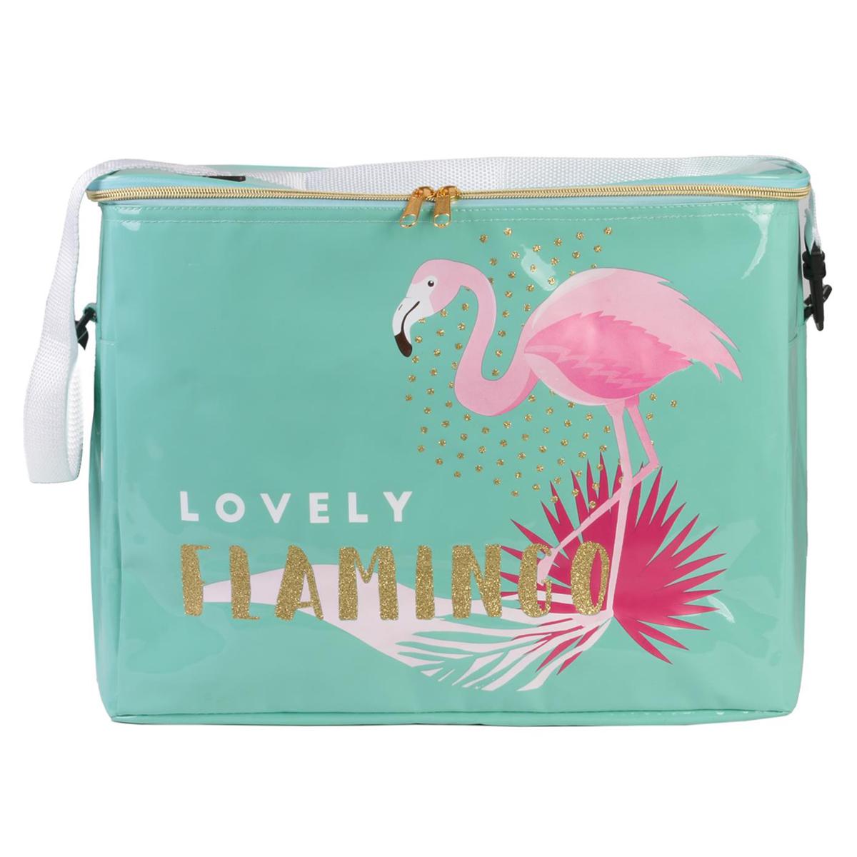 Sac isotherme \'Tropical\' vert (Flamant Rose - Lovely Flamingo) - 41x31x23 cm (33L) - [Q8126]