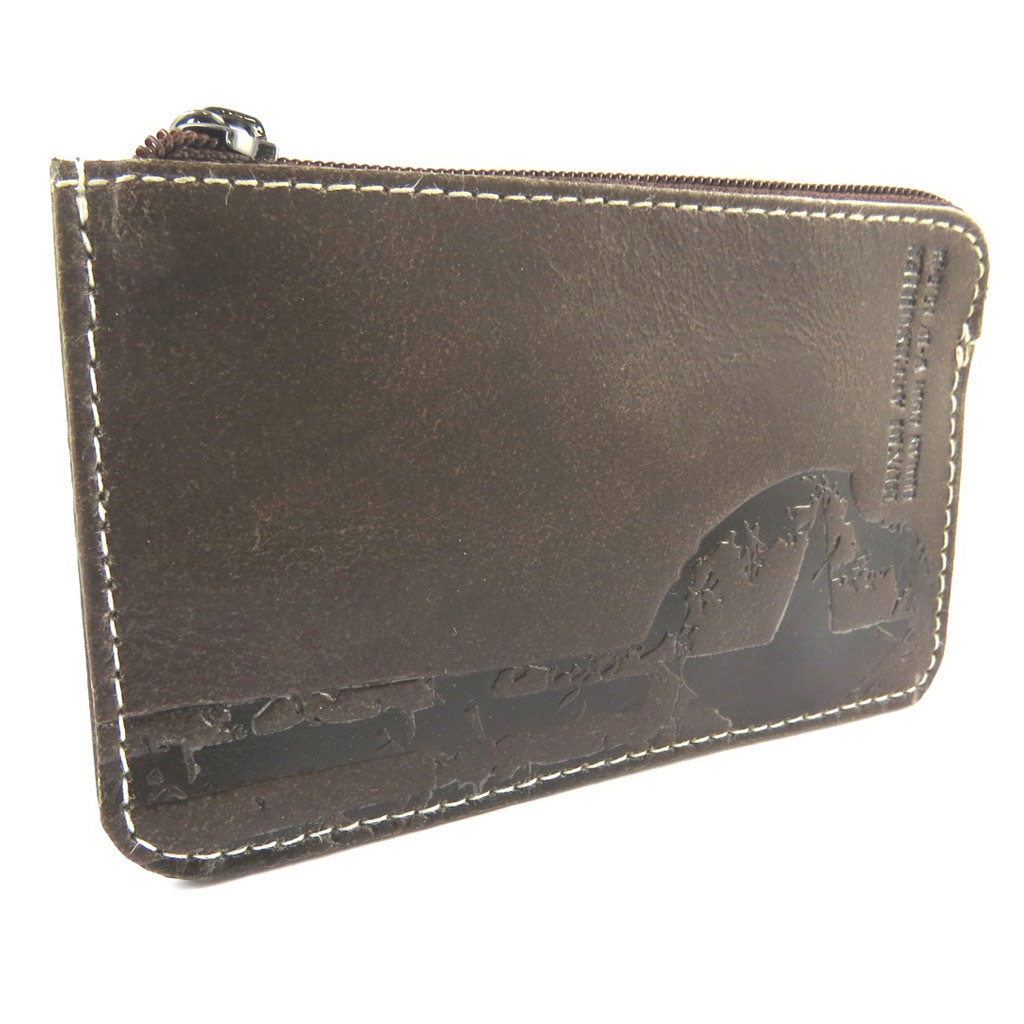 Porte-monnaie cuir \'Mundi\' marron vintage - 12x75 cm - [N5793]