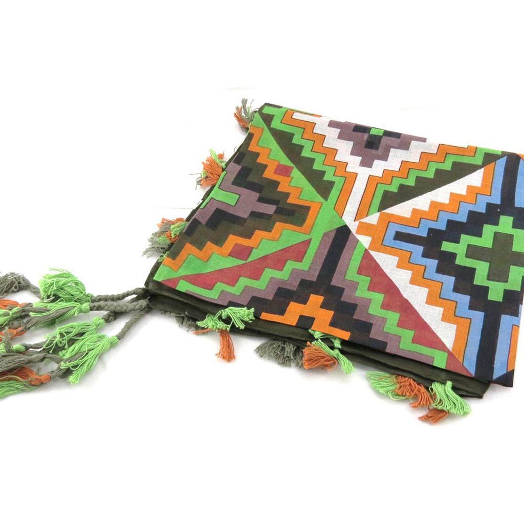 Carré \'Azteca\' vert multicolore - [J2723]