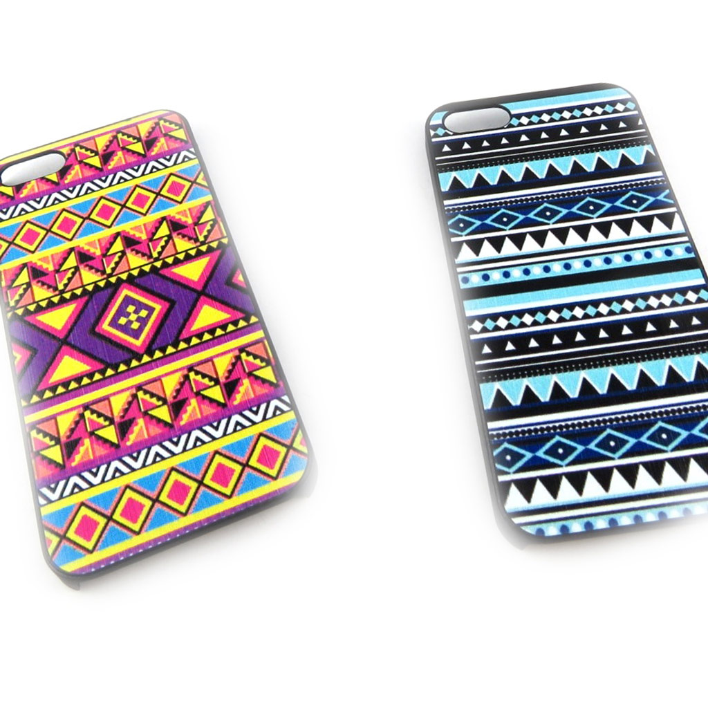 2 coques créateur \'Maya\' Iphone 5 (violet bleu) - [K8517]