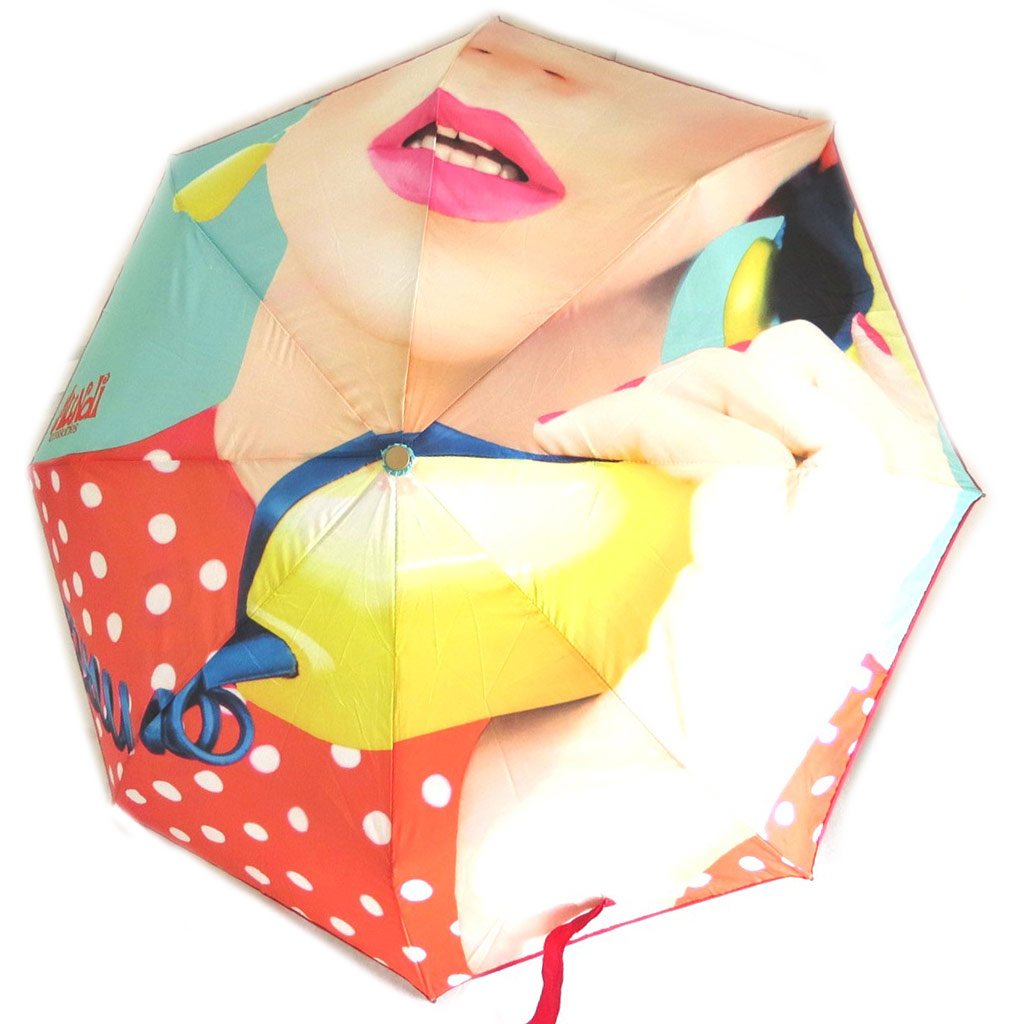 Parapluie mini manuel \'Mundi\' rouge vert (visage) - 215 cm - [N5795]