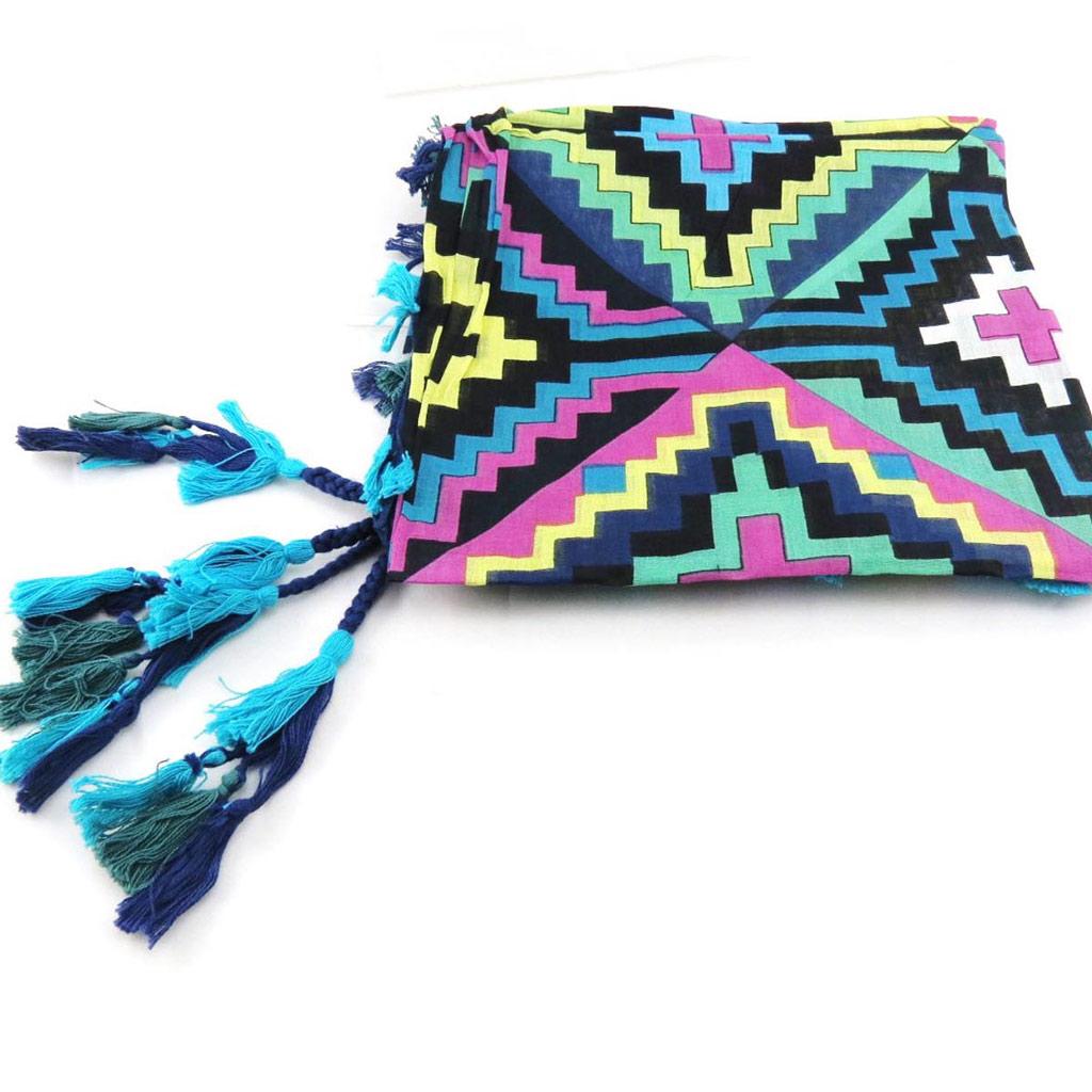 Carré \'Azteca\' bleu multicolore - [J2724]