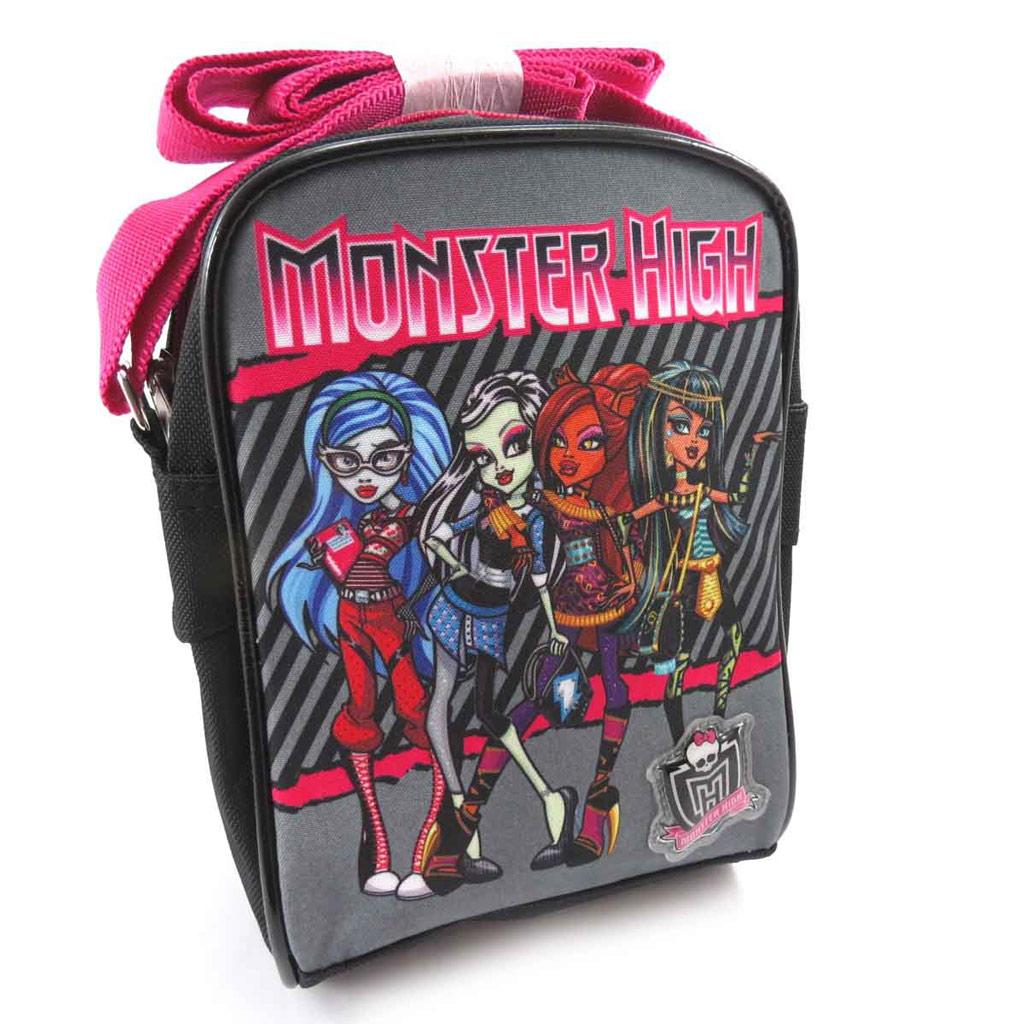 Sac bandoulière \'Monster High\' noir rose gris - [J8358]