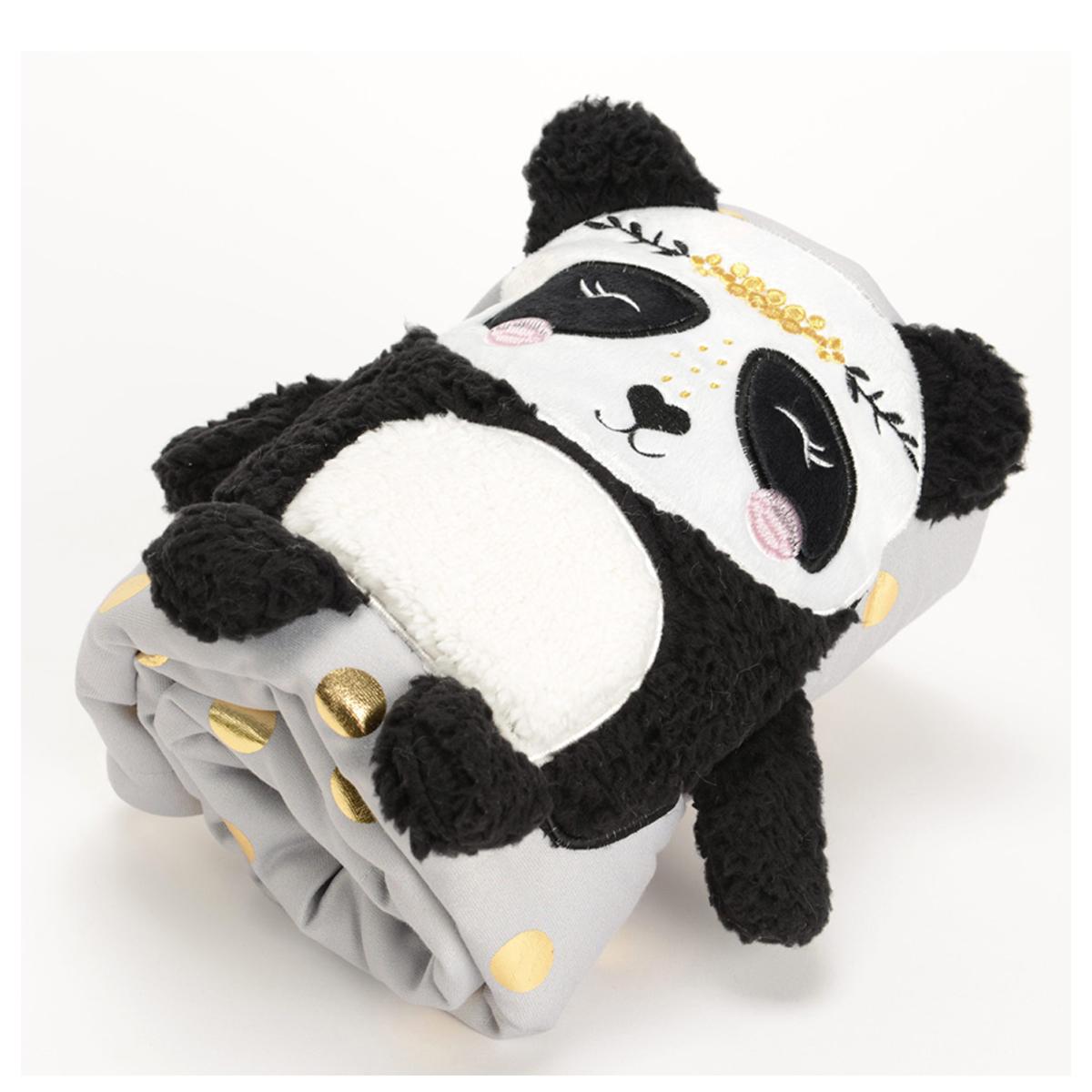 Plaid peluche \'Panda\' noir blanc gris - 100x75 cm - [Q9559]