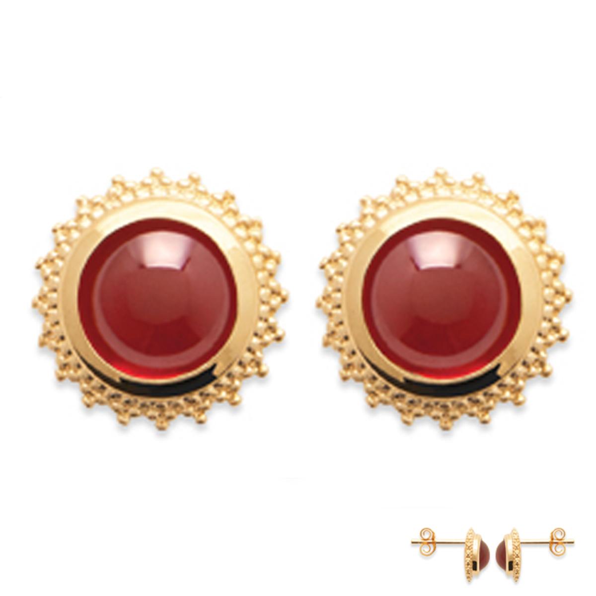 Boucles Plaqué Or \'Cleopatra\' rouge doré - 10 mm - [Q6634]
