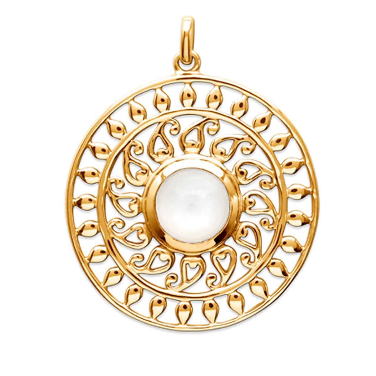 Pendentif Plaqué Or \'Cléopatra\' pierre de lune doré - 28 mm - [Q6637]