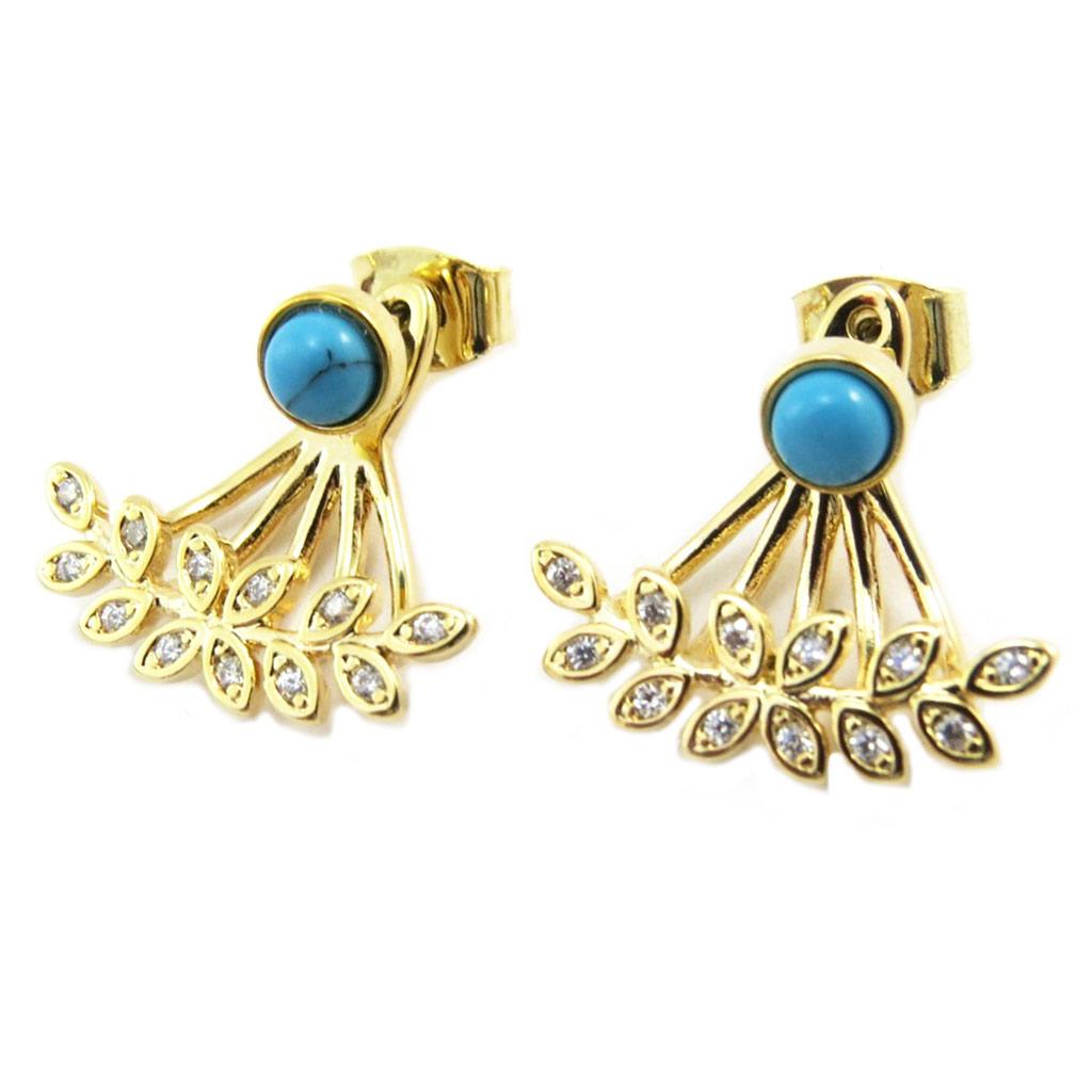 Boucles artisanales \'Boho\' turquoise doré - 18x18 mm - [P3889]