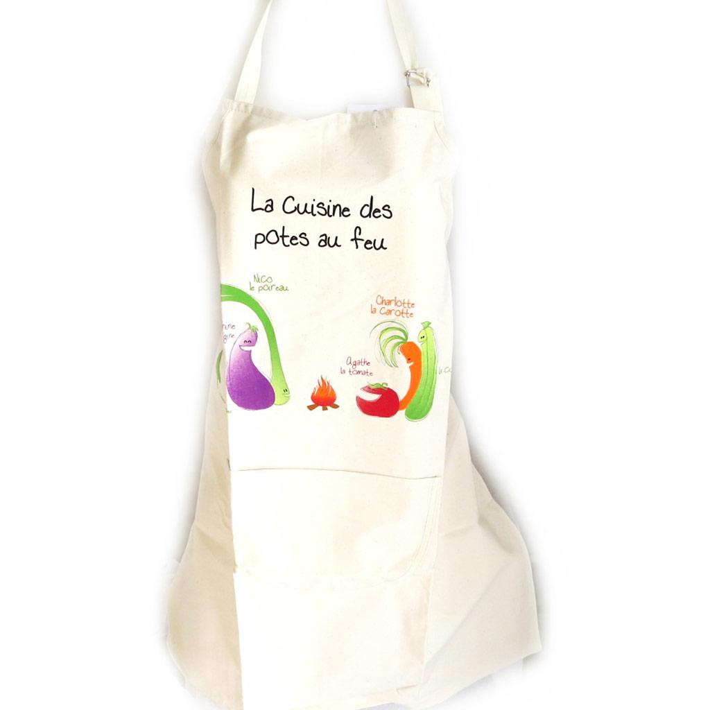 Tablier créateur \'La cuisine des Potes au feu\' beige - [N4801]