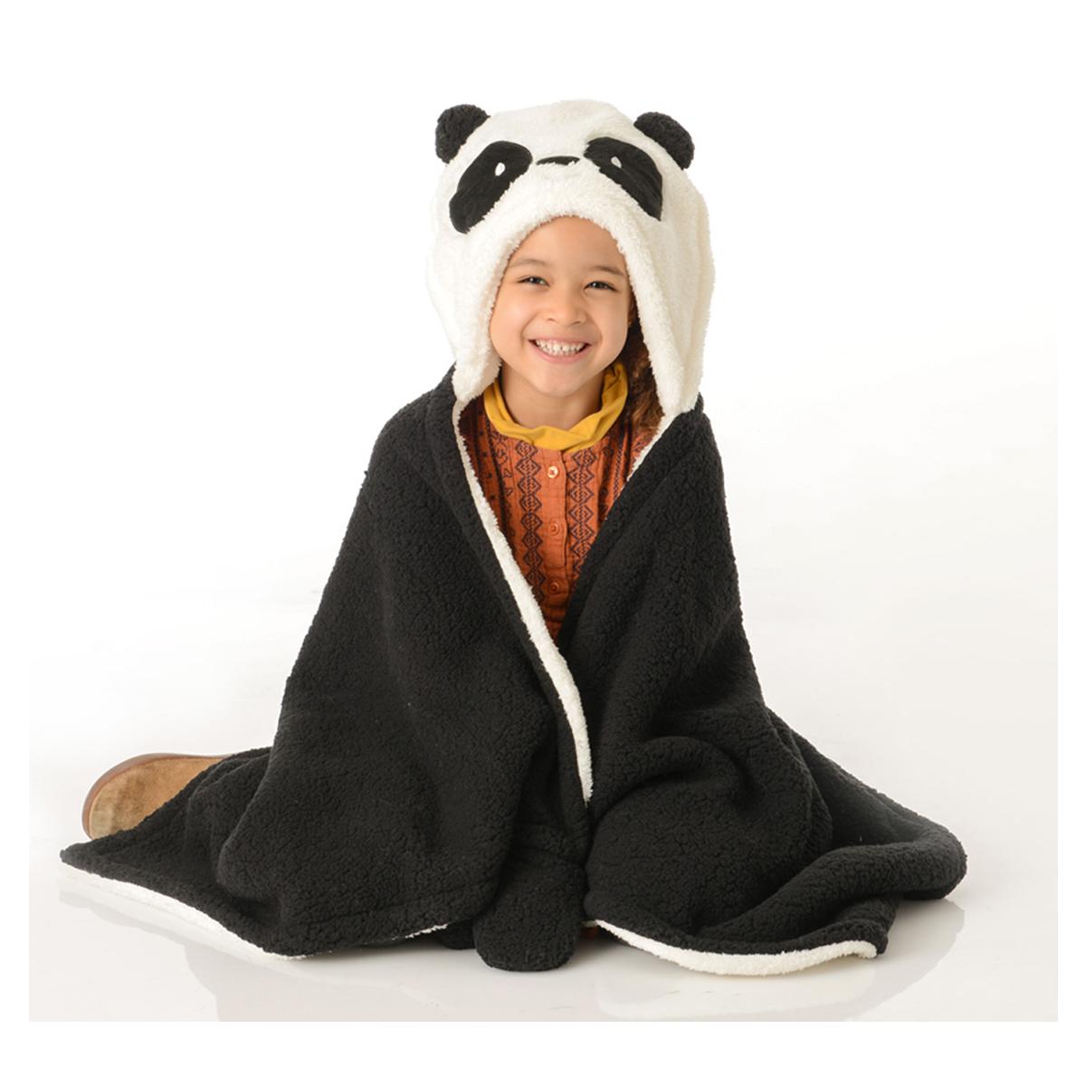 Plaid poncho \'Panda\' noir blanc gris - 127x68 cm - [Q9568]