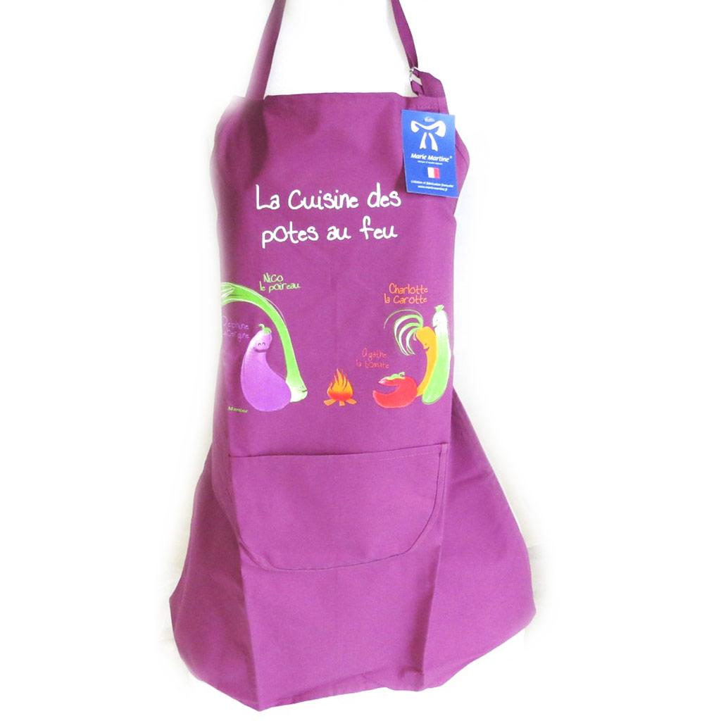 Tablier créateur \'La cuisine des Potes au feu\' violet - [N4803]