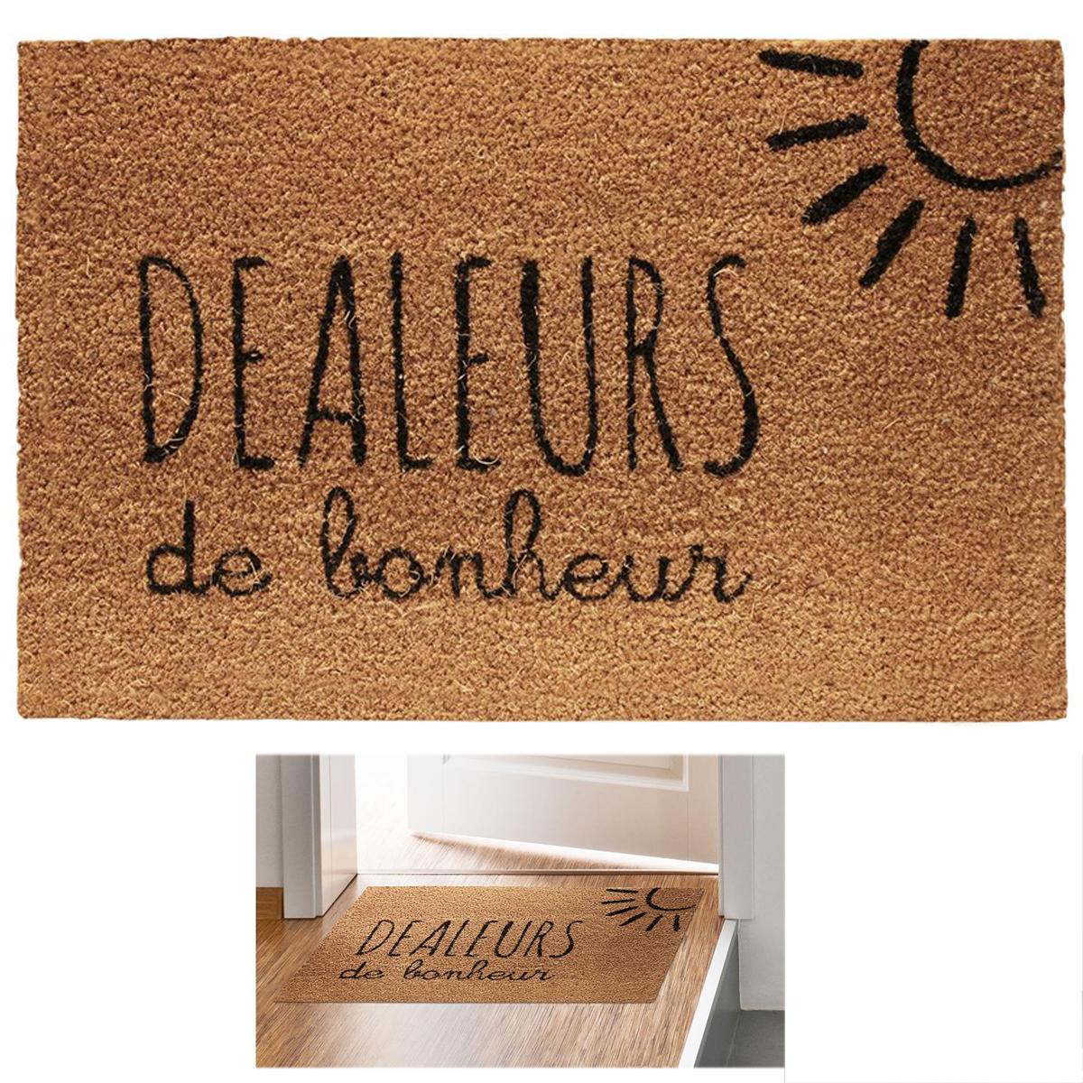 Paillasson paille \'Messages\' marron (Dealers de Bonheur) - 60x40 cm - [Q8140]