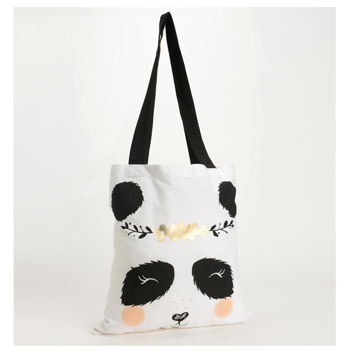 Sac coton / tote bag \'Panda\' noir blanc - 38x38 cm - [Q9583]