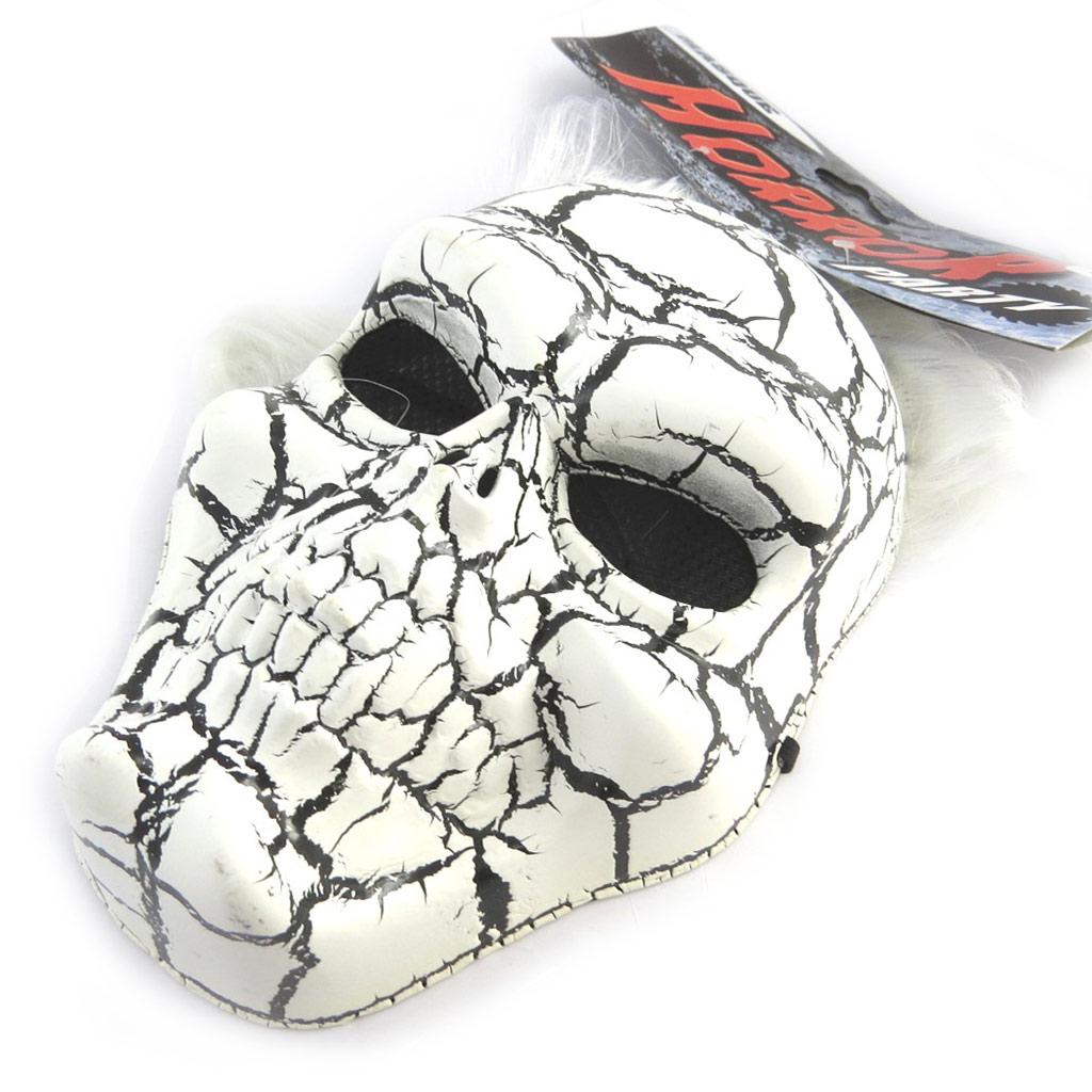 Masque de déguisement \'Tête de Mort\' noir blanc (perruque) - [M9099]