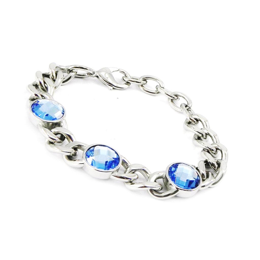 Bracelet acier \'Calypso\' bleu argenté - [I2872]