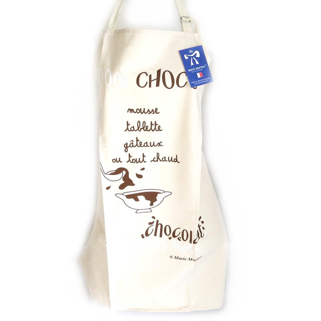 Tablier créateur \'100% Choco\' beige - [N4812]