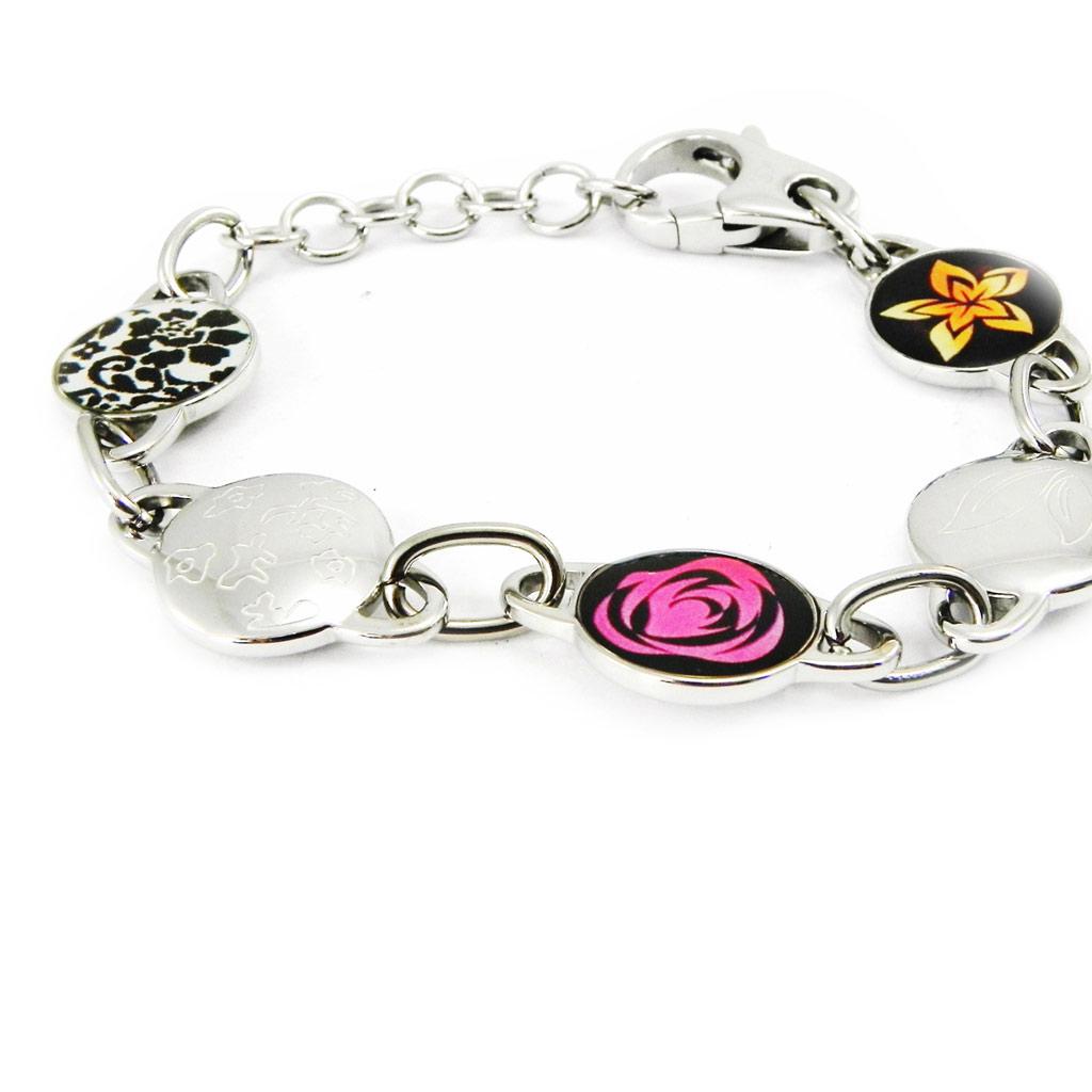 Bracelet acier \'Calypso\' floral multicolore - [I2880]