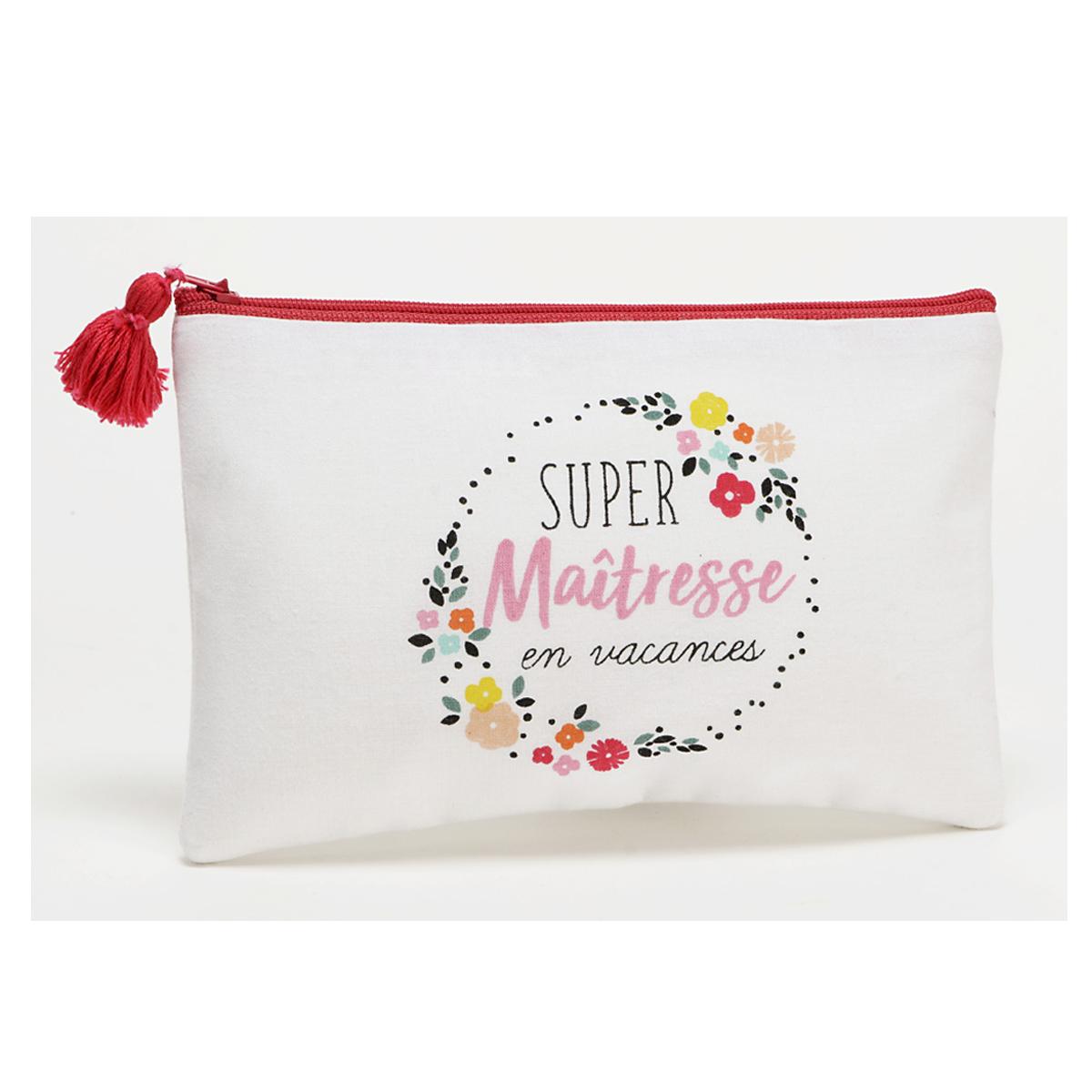Trousse plate coton \'Maîtresse\' blanc multicolore (Super Maîtresse en vacances) - 20x12 cm - [Q9589]