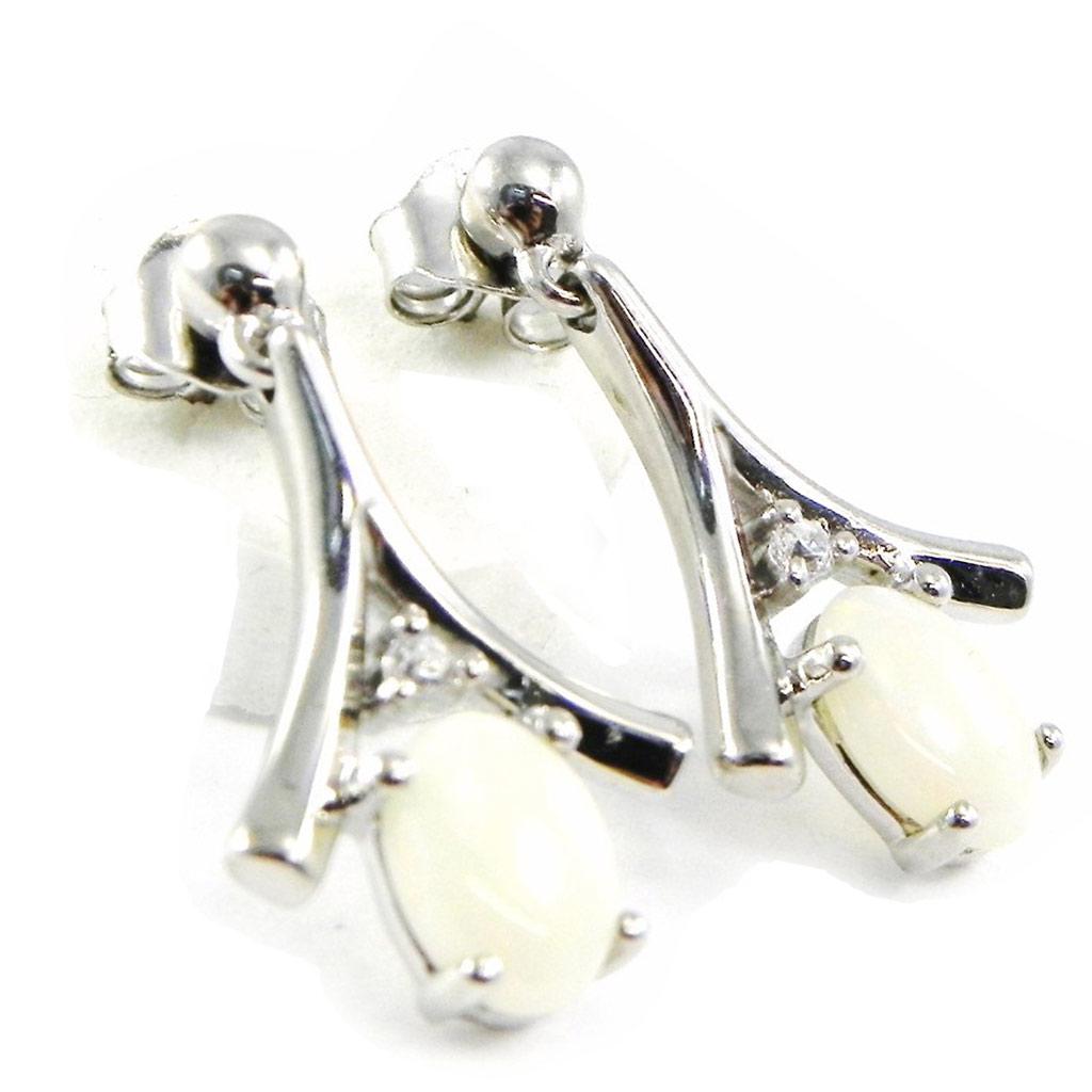 Boucles Argent \'Déesse Opale\' Blanc - [G0777]