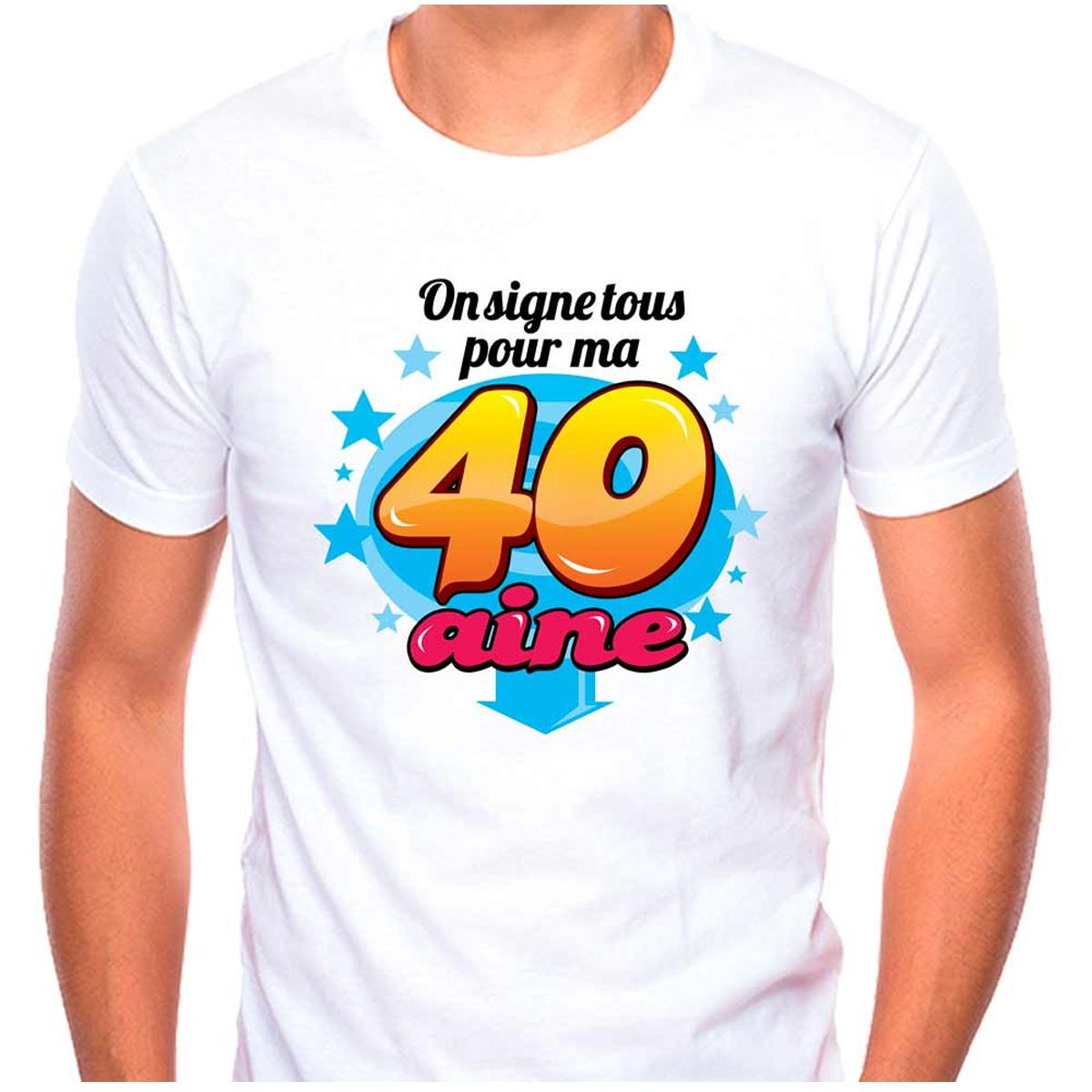 T-shirt coton \'40 aine\' multicolore blanc - (dédicace) - [Q9592]