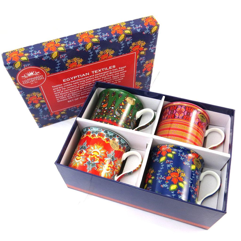 Coffret cadeau \'Egyptian Textile\' tutti frutti (4 mugs) - [N4825]