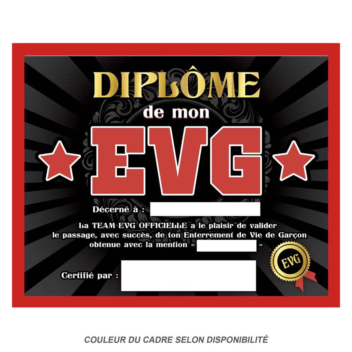 Cadre \'Diplôme de mon EVG\' noir rouge - 25x20x15 cm - [Q9594]