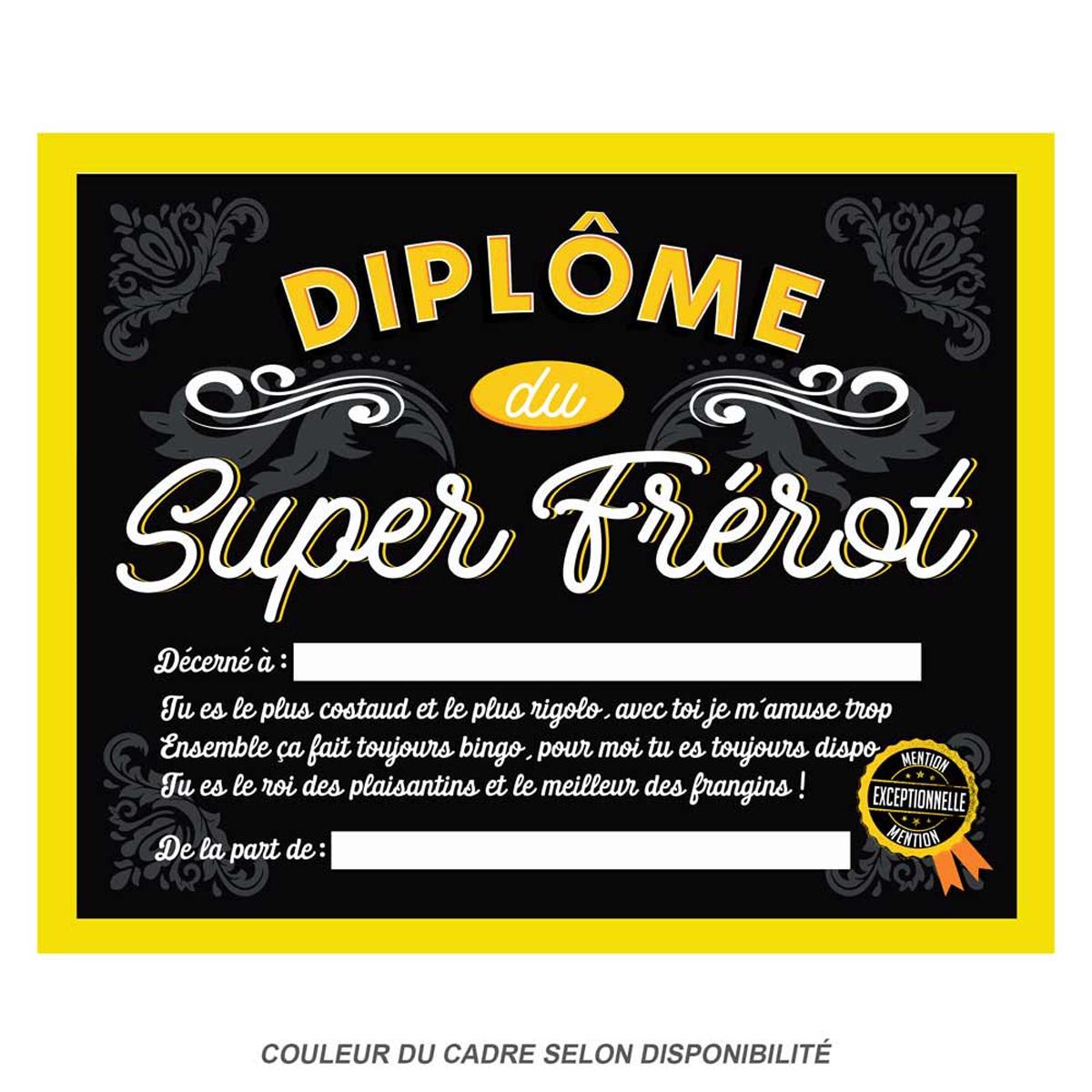 Cadre \'Diplôme du Super Frérot\' noir jaune - 25x20x15 cm - [Q9596]