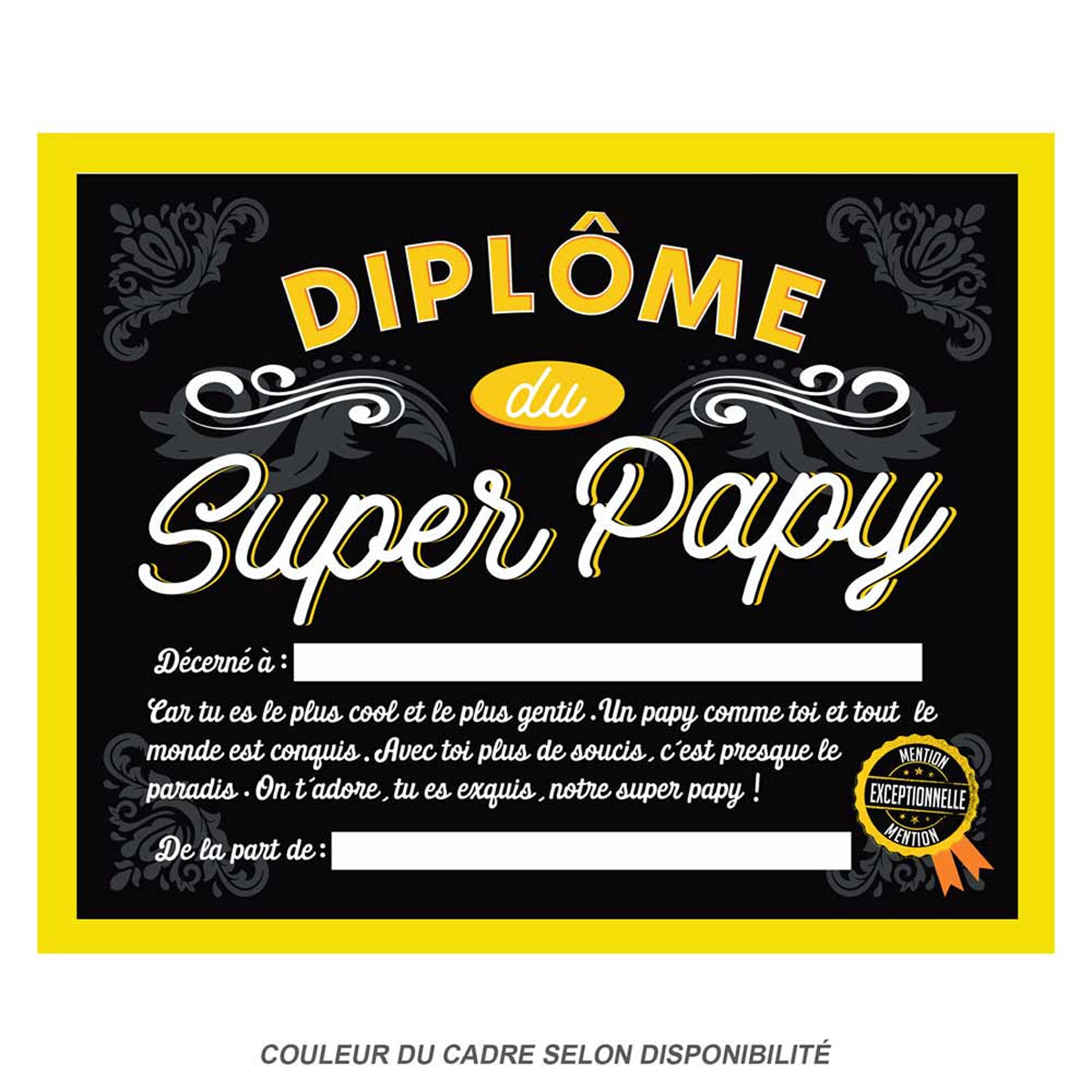 Cadre \'Diplôme du Super Papy\' - 25x20x15 cm - [Q9598]