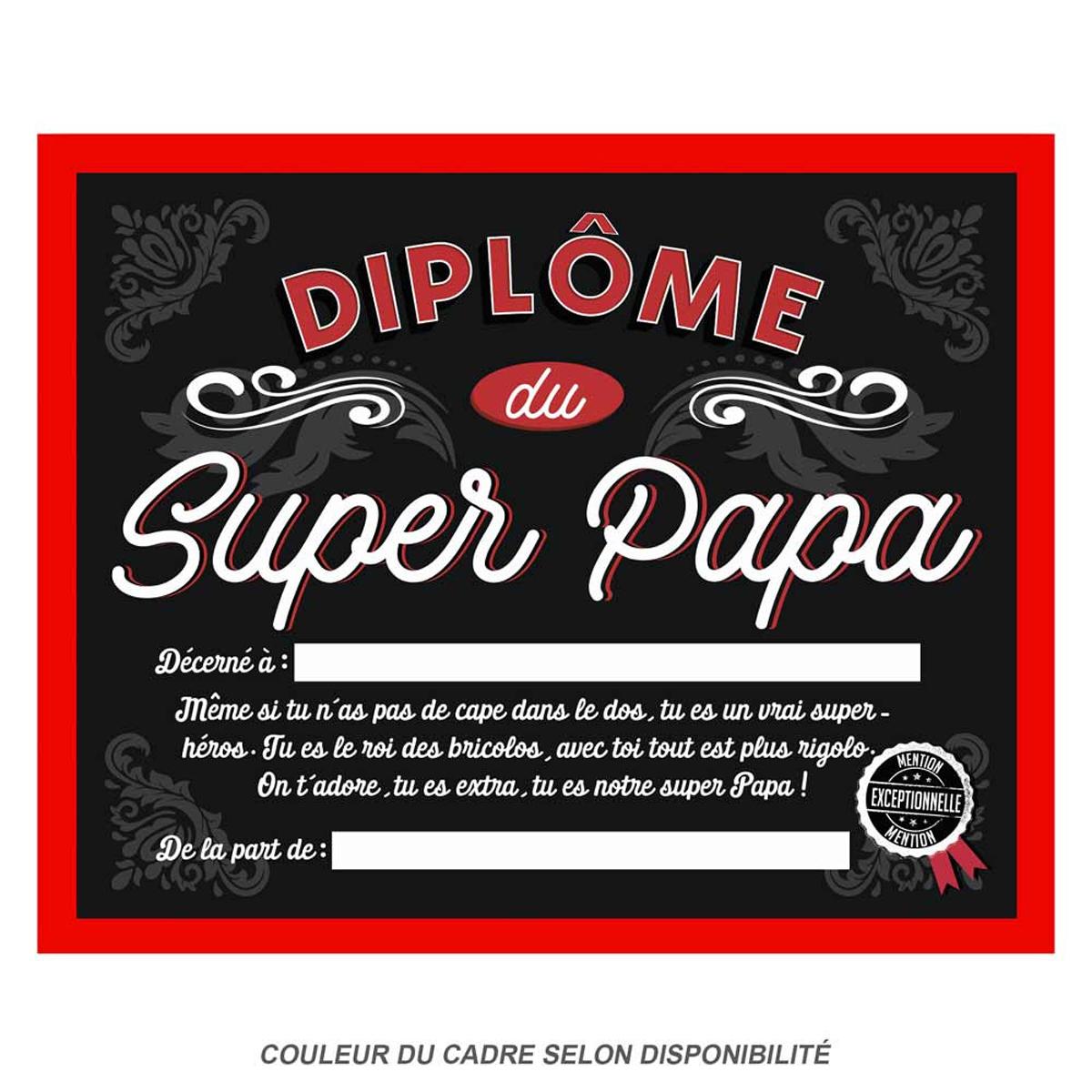 Cadre \'Diplôme du Super Papa\' noir rouge - 25x20x15 cm - [Q9600]