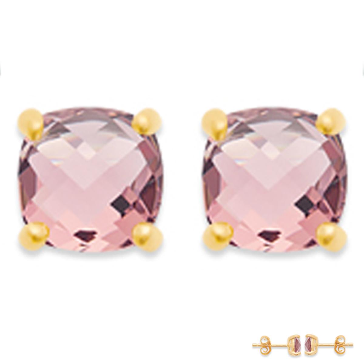 Boucles Plaqué Or \'Sissi\' rose doré - 6x6 mm - [Q8167]