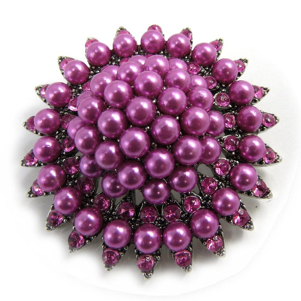 Broche Créateur \'Scarlett\' rose violet - [L9799]