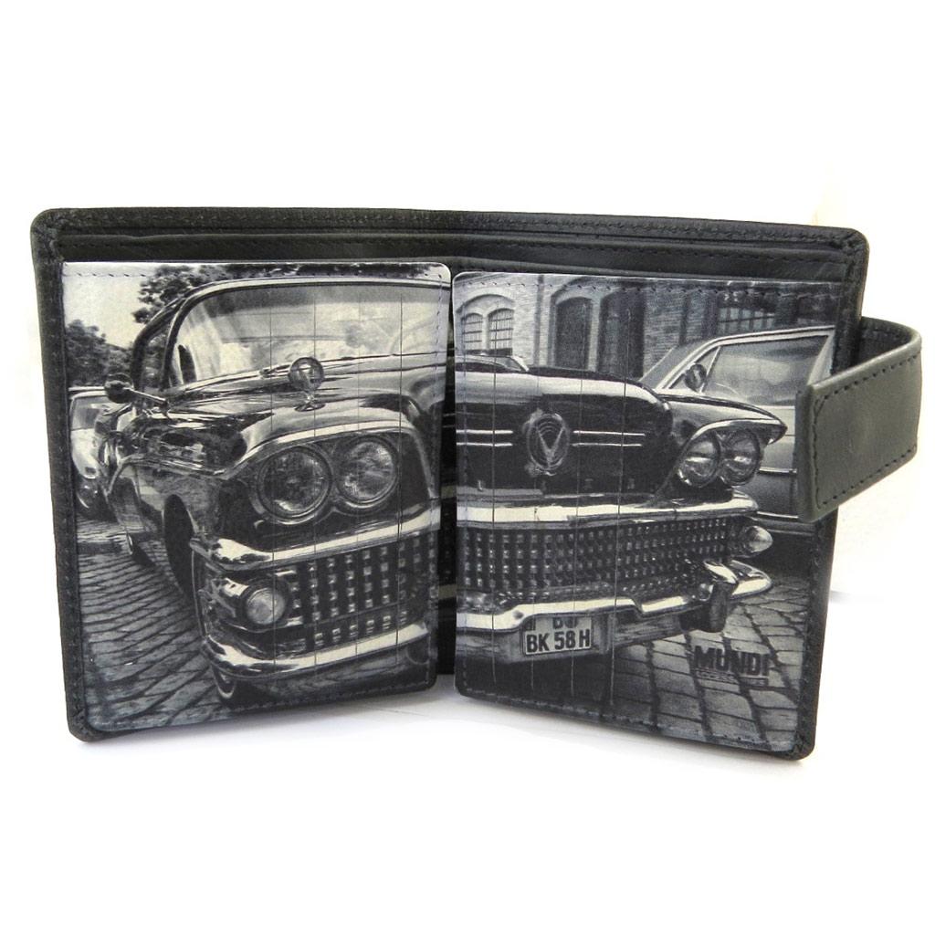 Portefeuille cuir \'Mundi\' noir blanc vintage (22 cartes) - 113x9 cm - [N4903]