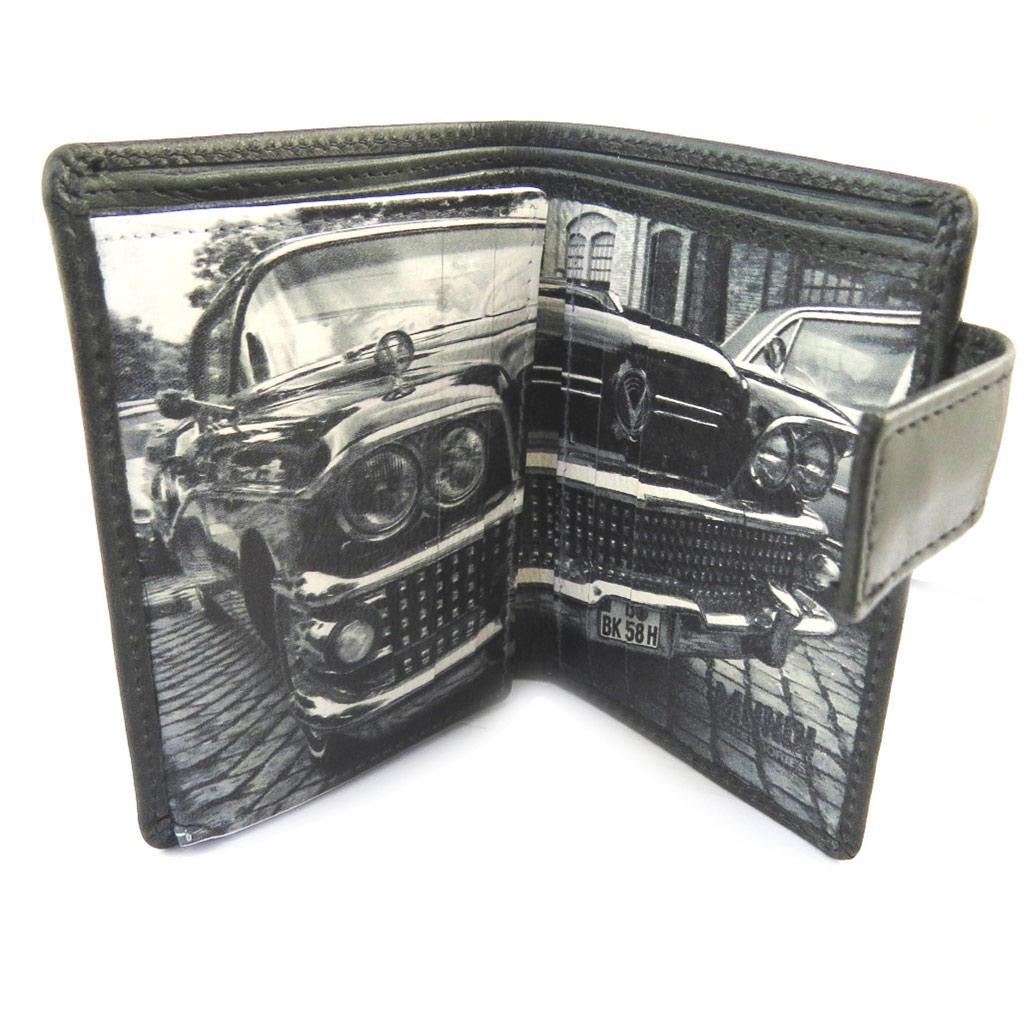 Porte-cartes cuir \'Mundi\' noir blanc vintage (9 cartes) - 105x85 cm - [N4905]
