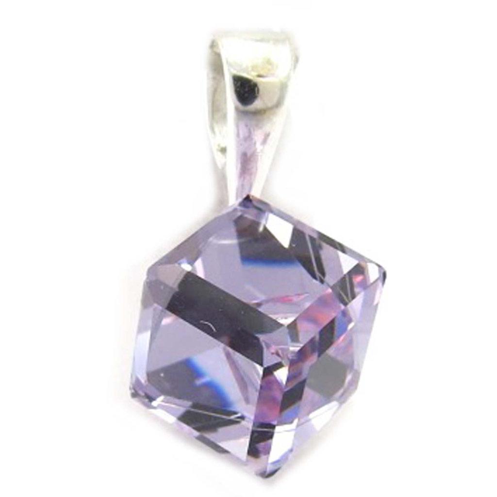 Pendentif Argent \'Cristal\' lavande 8 mm - [K5440]