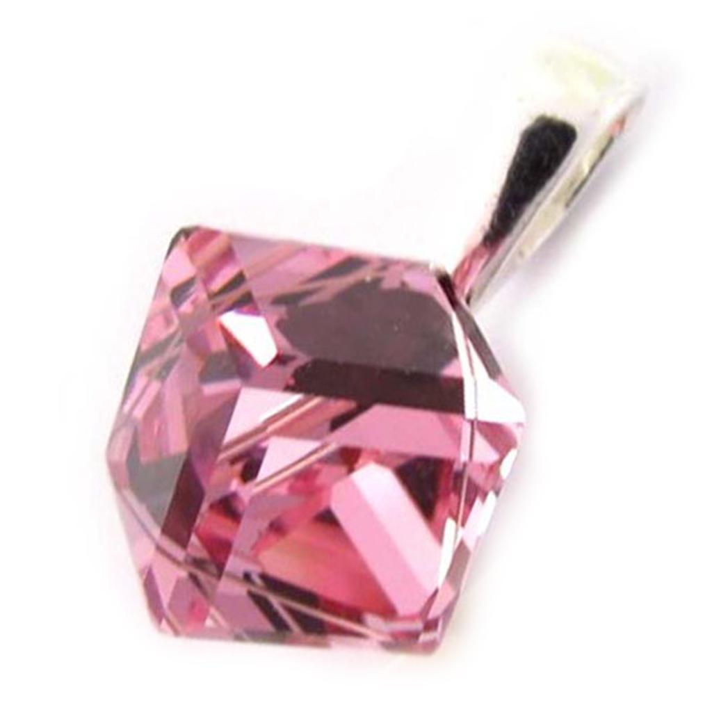 Pendentif Argent \'Cristal\' rose 8 mm - [K5443]