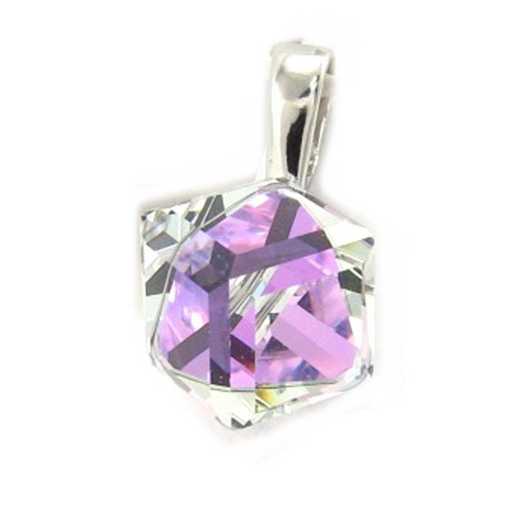 Pendentif Argent \'Cristal\' violet boréal 8 mm - [K5445]