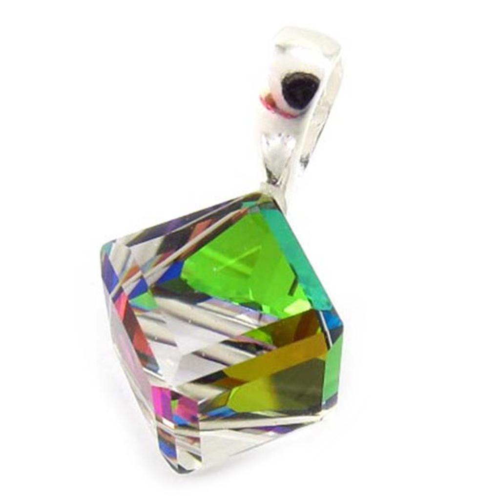 Pendentif Argent \'Cristal\' vert boréal 8 mm - [K5446]
