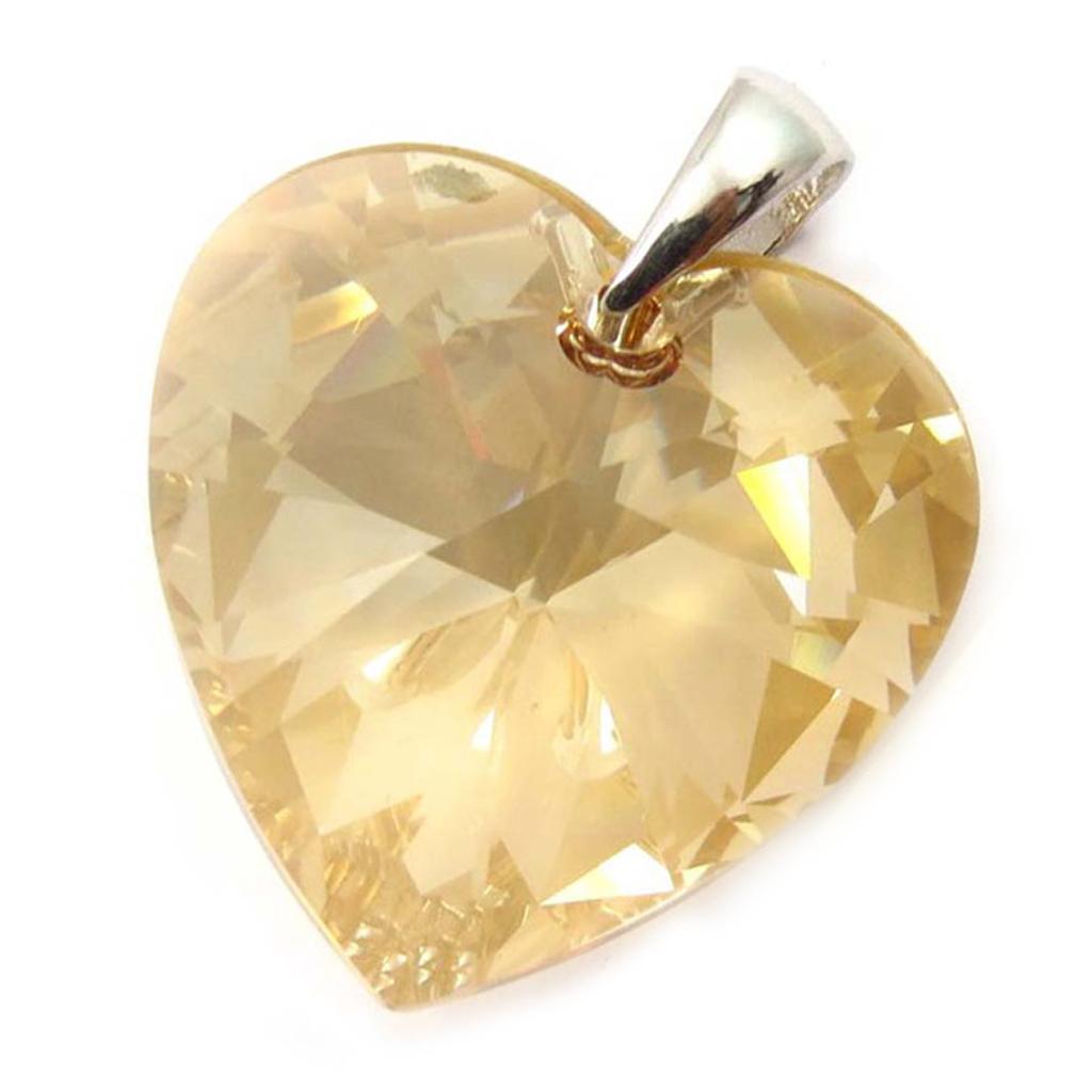 Pendentif Argent \'Love\' ambre (GM) - [K5451]