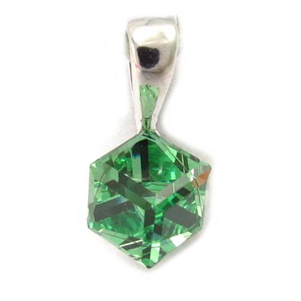 Pendentif Argent \'Cristal\' vert 6 mm  - [K5452]