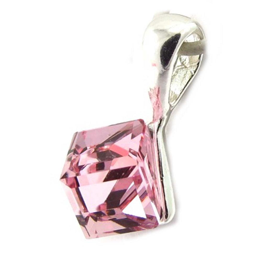 Pendentif Argent \'Cristal\' rose 6 mm  - [K5456]