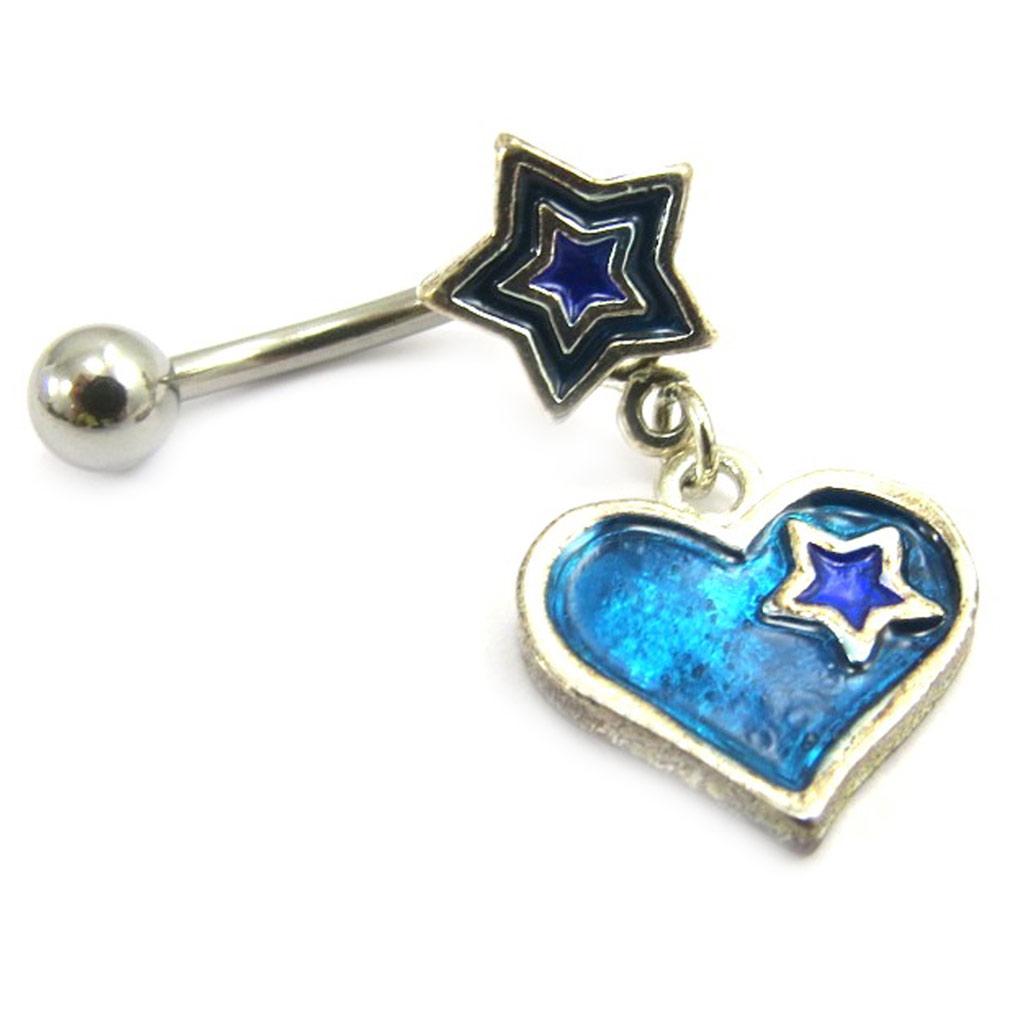Body Piercing \'Coeur Star\' Bleu - [A5531]