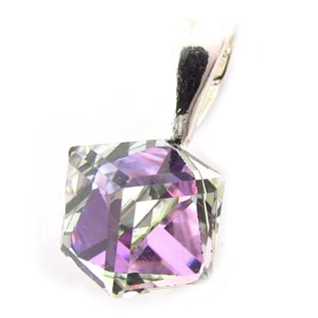 Pendentif Argent \'Cristal\' violet boréal 6 mm  - [K5459]