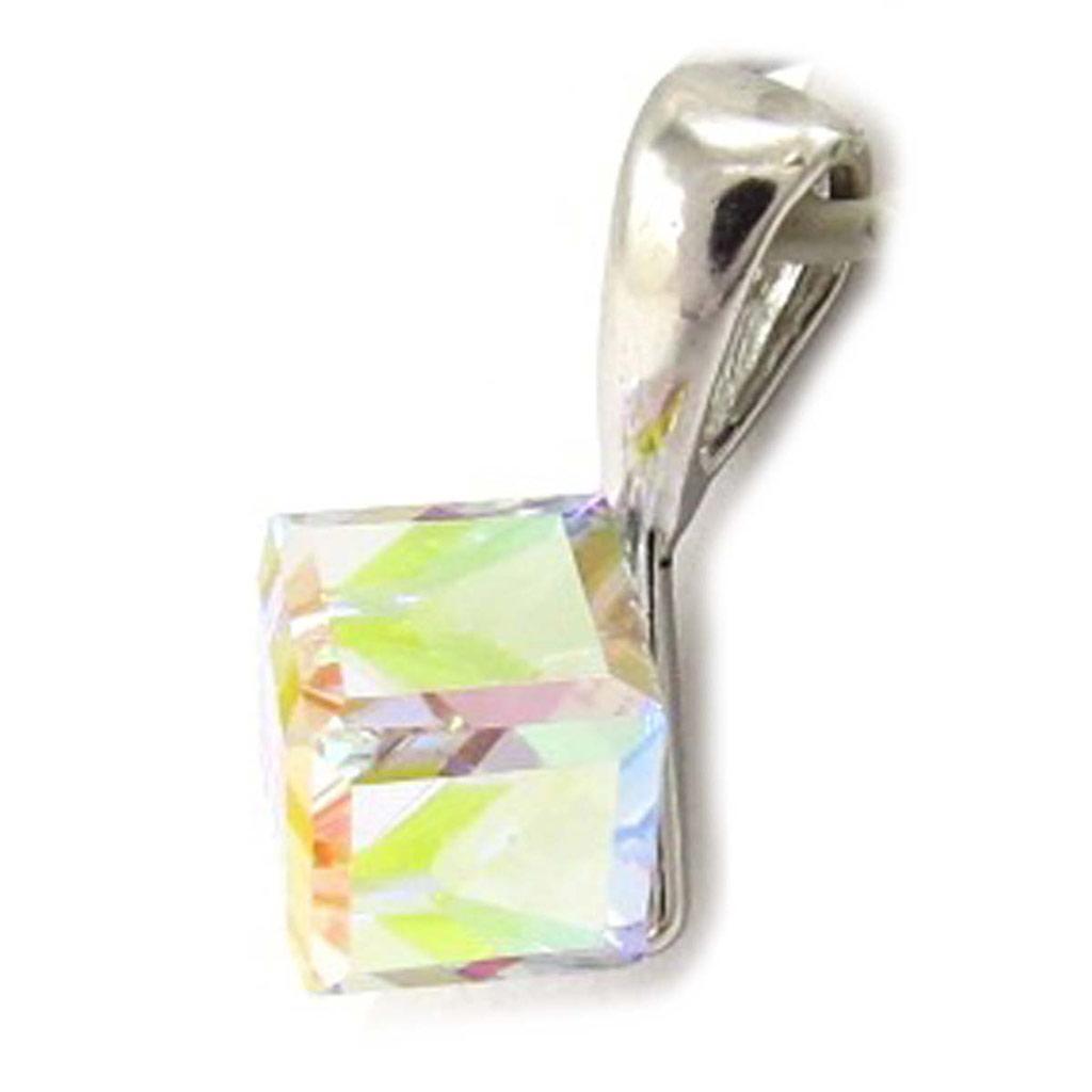 Pendentif Argent \'Cristal\' blanc boréal 6 mm  - [K5461]