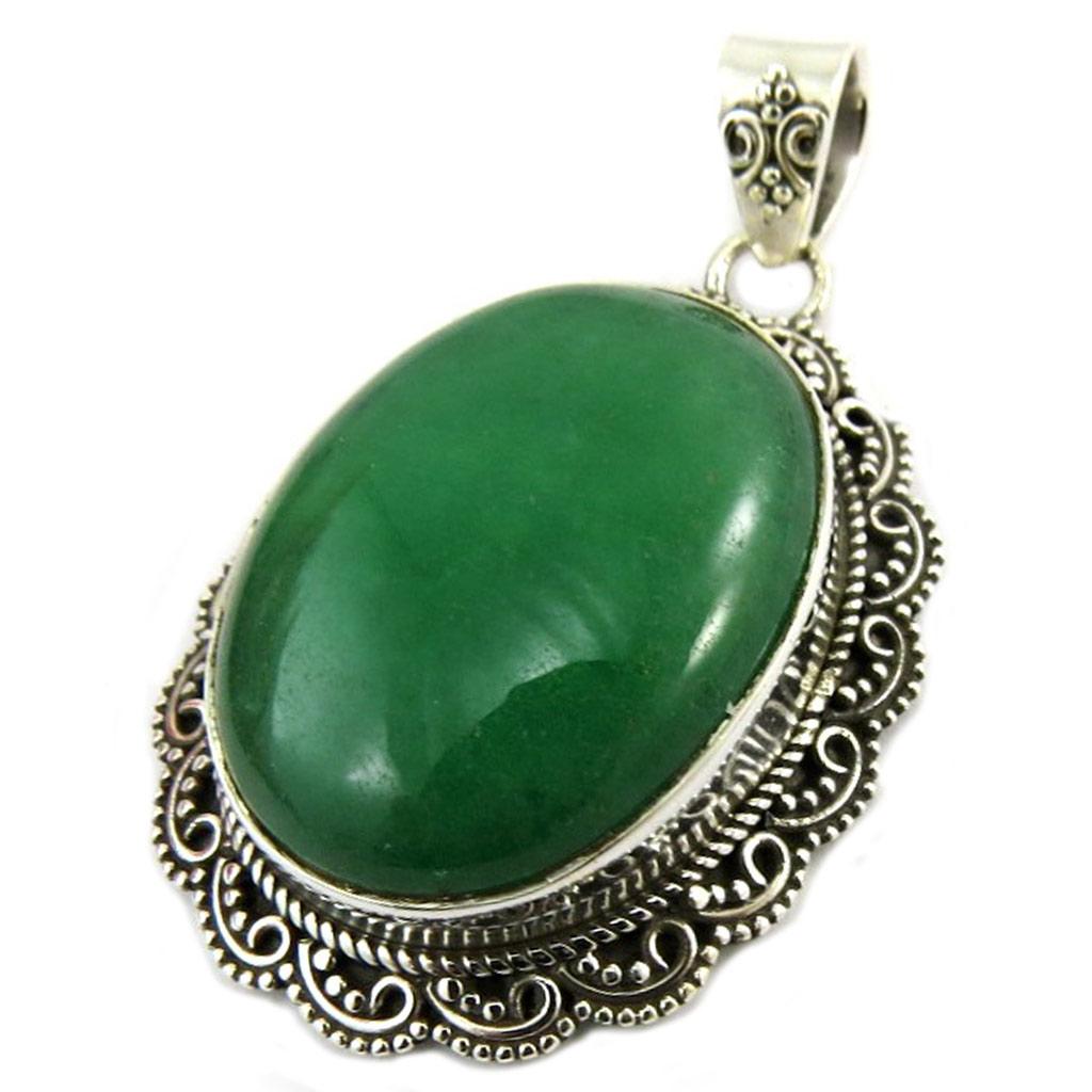 Pendentif Argent \'Heaven\' jade vert - 32x24 mm - [P7219]