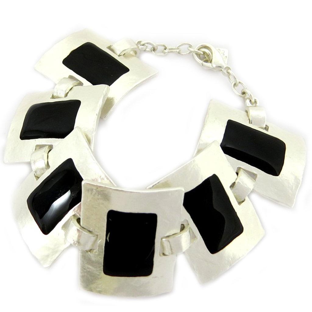 Bracelet Créateur \'DV- Zen\' Argenté / Noir  - [A6711]