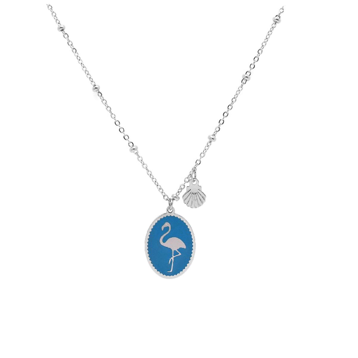 Collier créateur acier \'Flamant Rose\' turquoise argenté - 16x12 mm - [Q2506]