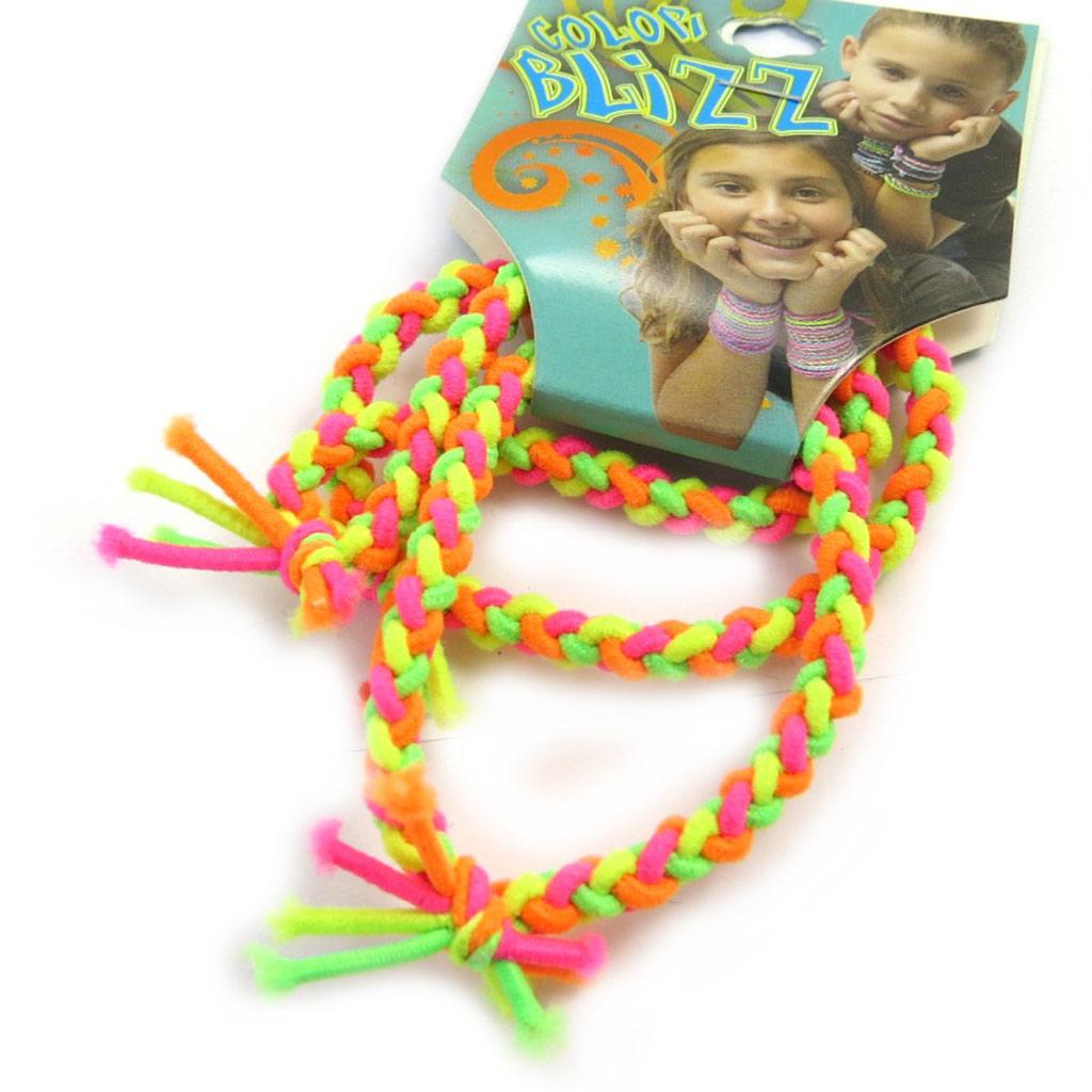 3 bracelets élastiques \'Coloriage\' vert jaune orange - [M5325]