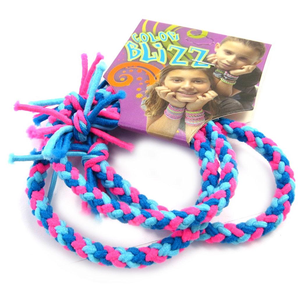 3 bracelets élastiques \'Coloriage\' bleu rose - [M5327]