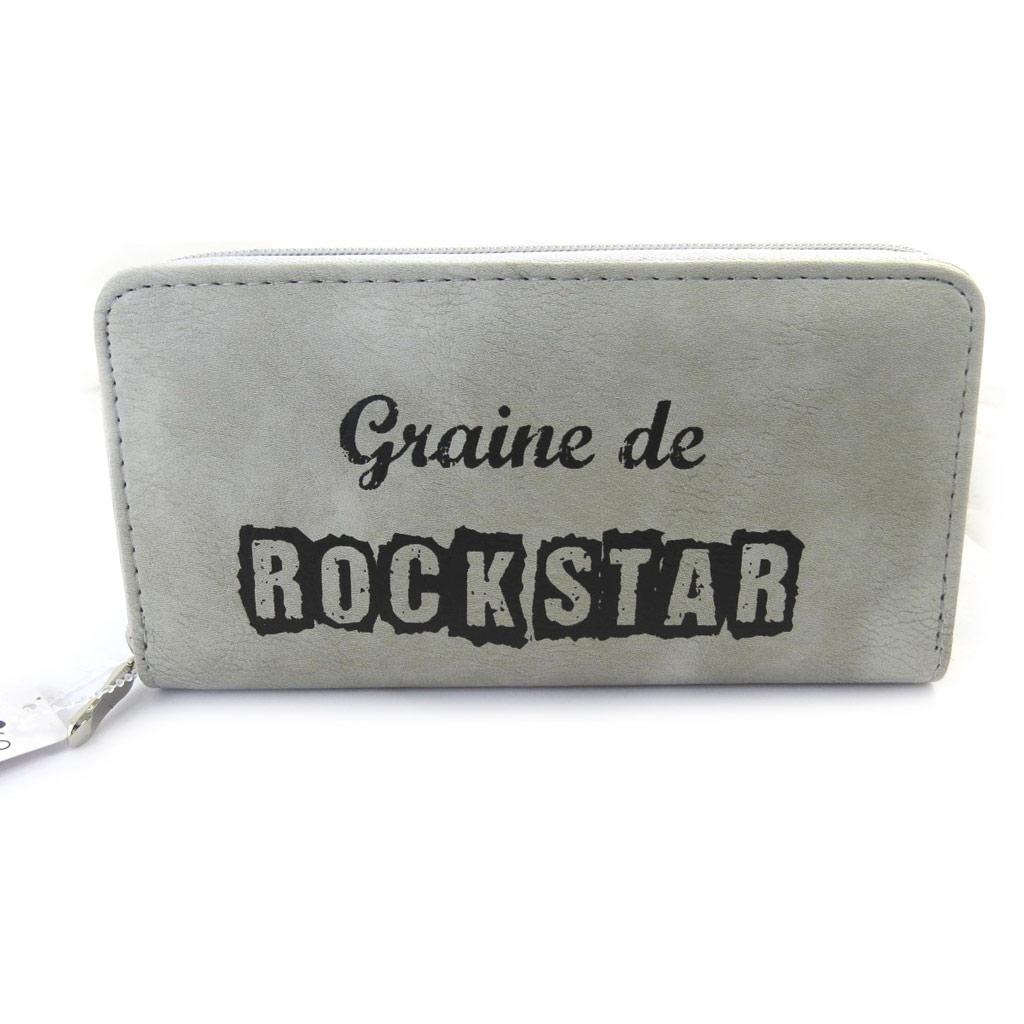 Grand porte-monnaie zippé \'Graine de Rockstar\' gris - [M5374]